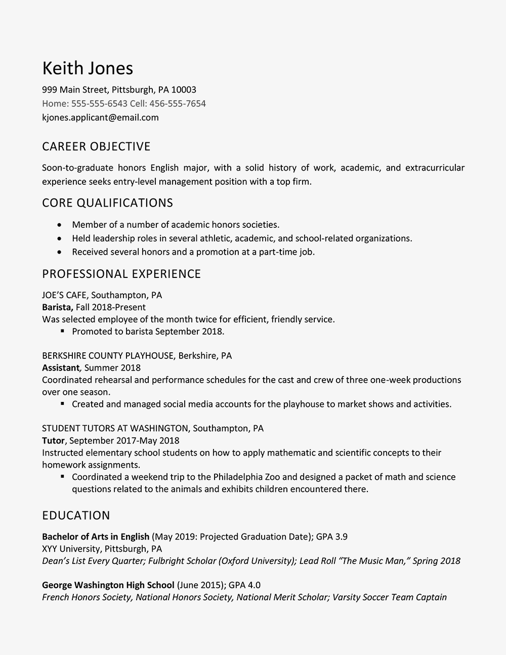 Academic Resume Template for Grad School - High School Graduate Resume Example Work Experience