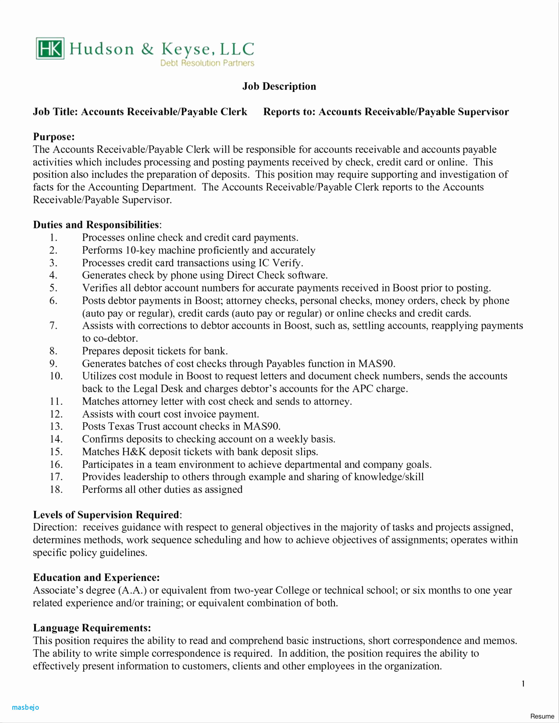 Accounts Receivable Resume Template - Accounts Receivable Resume Examples Accounts Receivable Clerk Resume