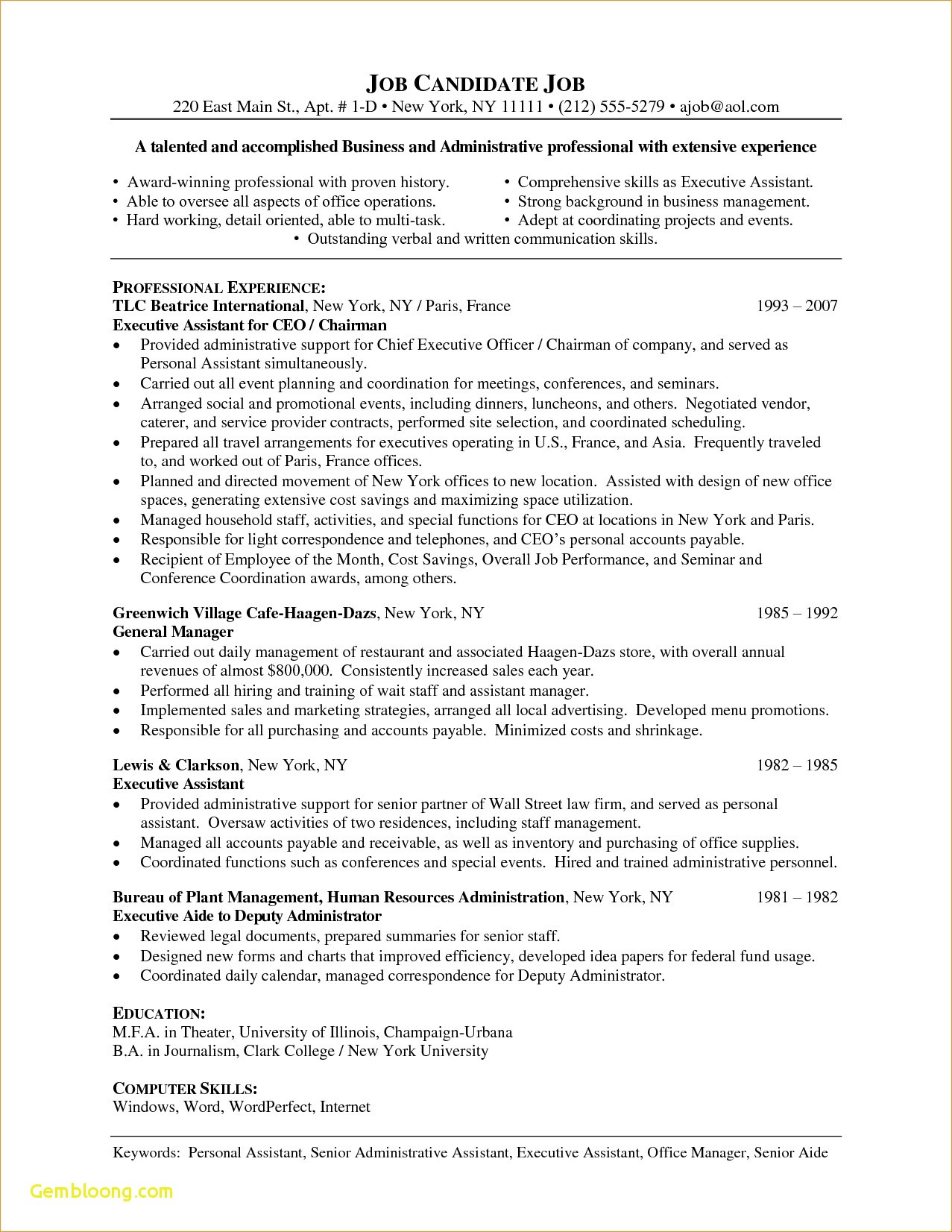 Accounts Receivable Resume Template - Cover Letter and Resume Template Word Download