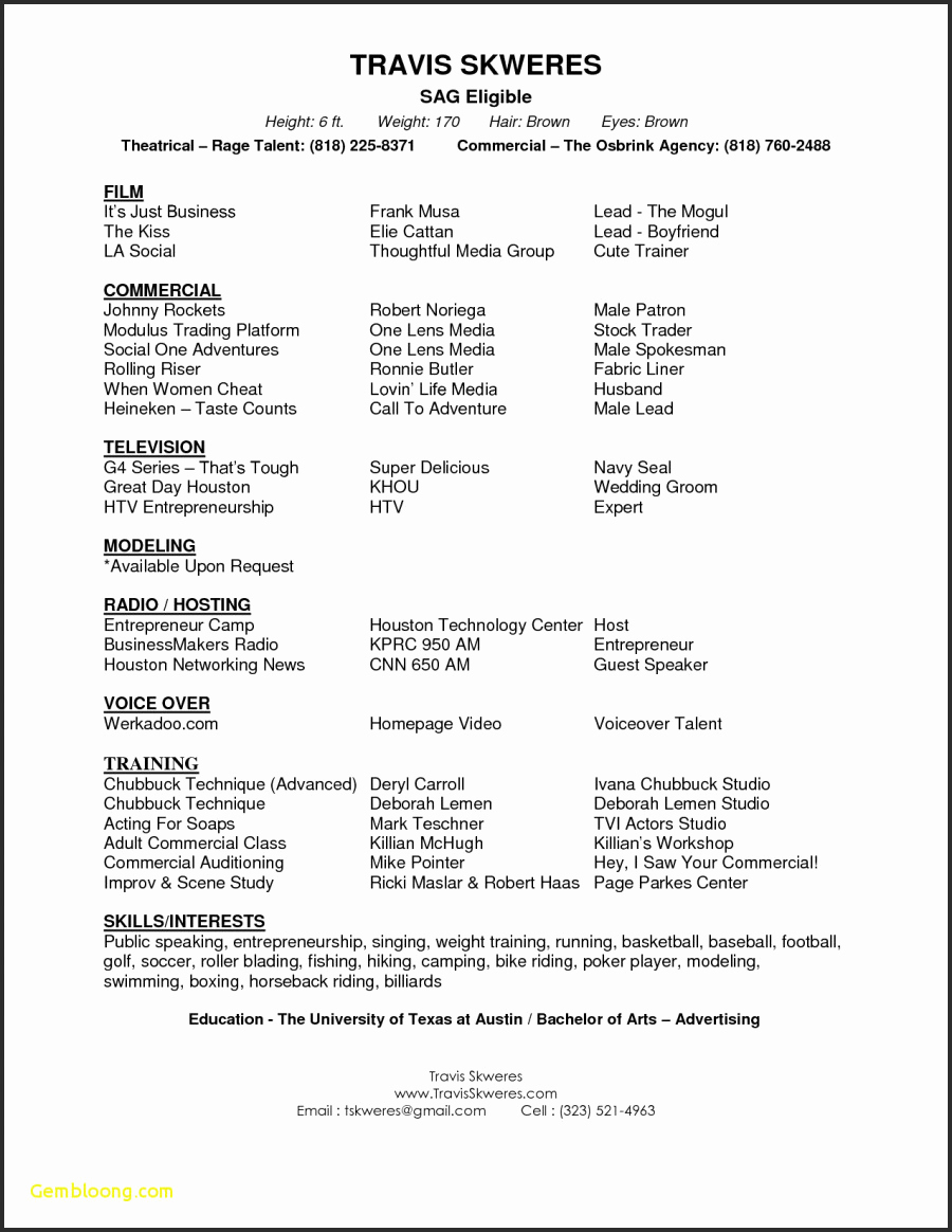 Acting Resume Template Google Docs - Google Docs Acting Resume ...