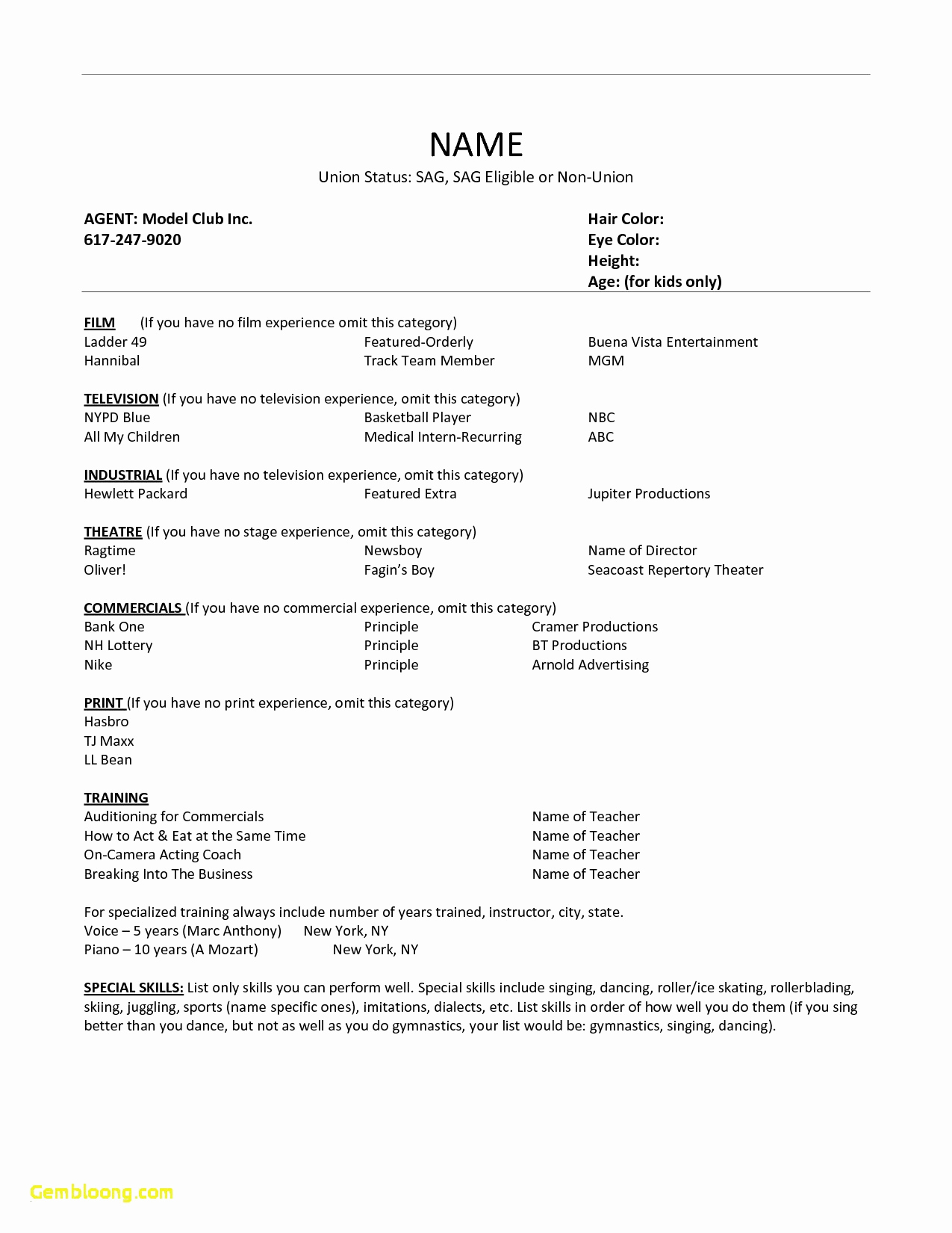 Acting Resume Template No Experience - Modeling Resume No Experience Acting and Modeling Resume Template