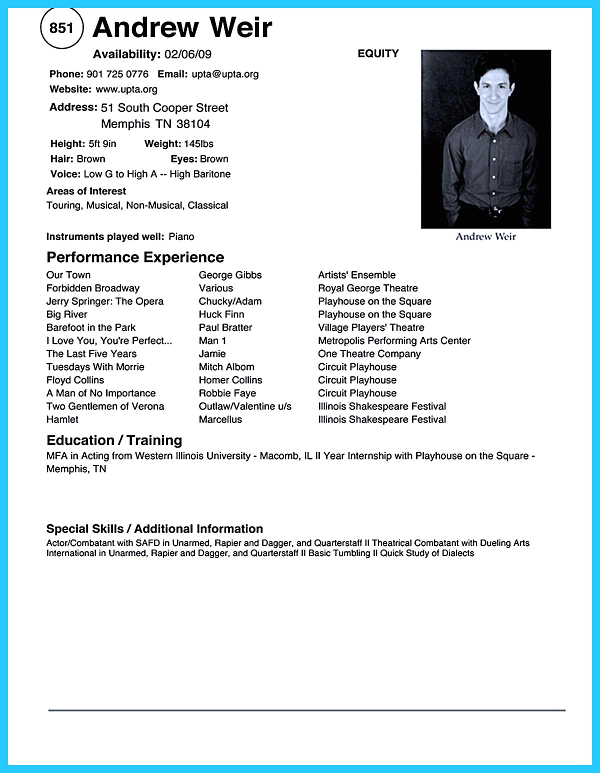 Acting Resume Template with Picture - 37 Awesome Acting Resume format