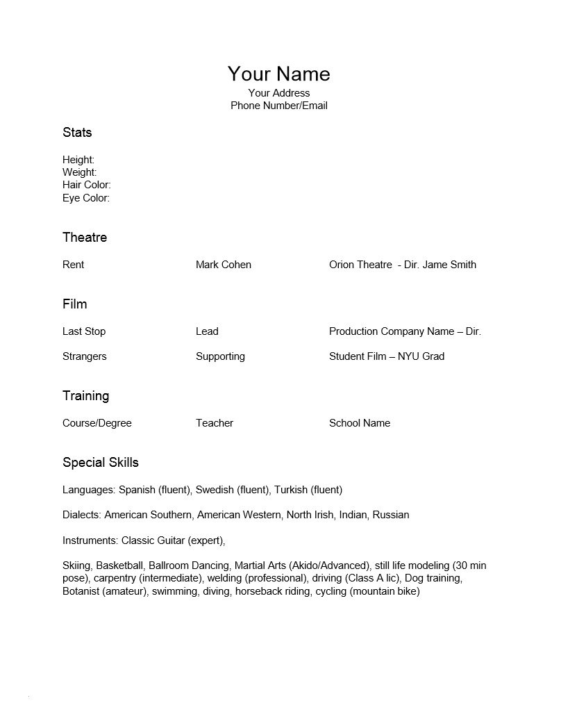 Acting Resume Template Word - Resume Template Ms Word 2007 Unique Free Special Skills Acting