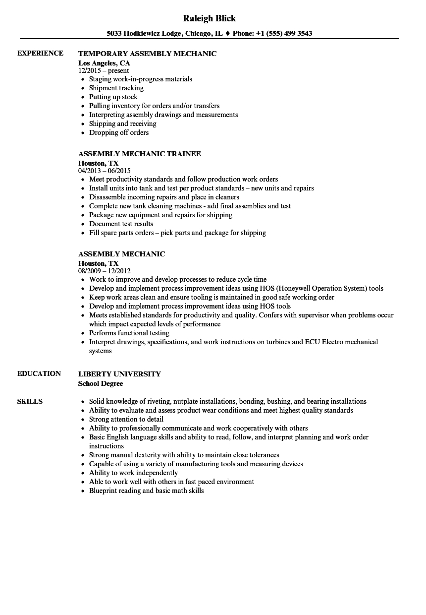 Aircraft Sheet Metal Resume - assembly Mechanic Resume Samples