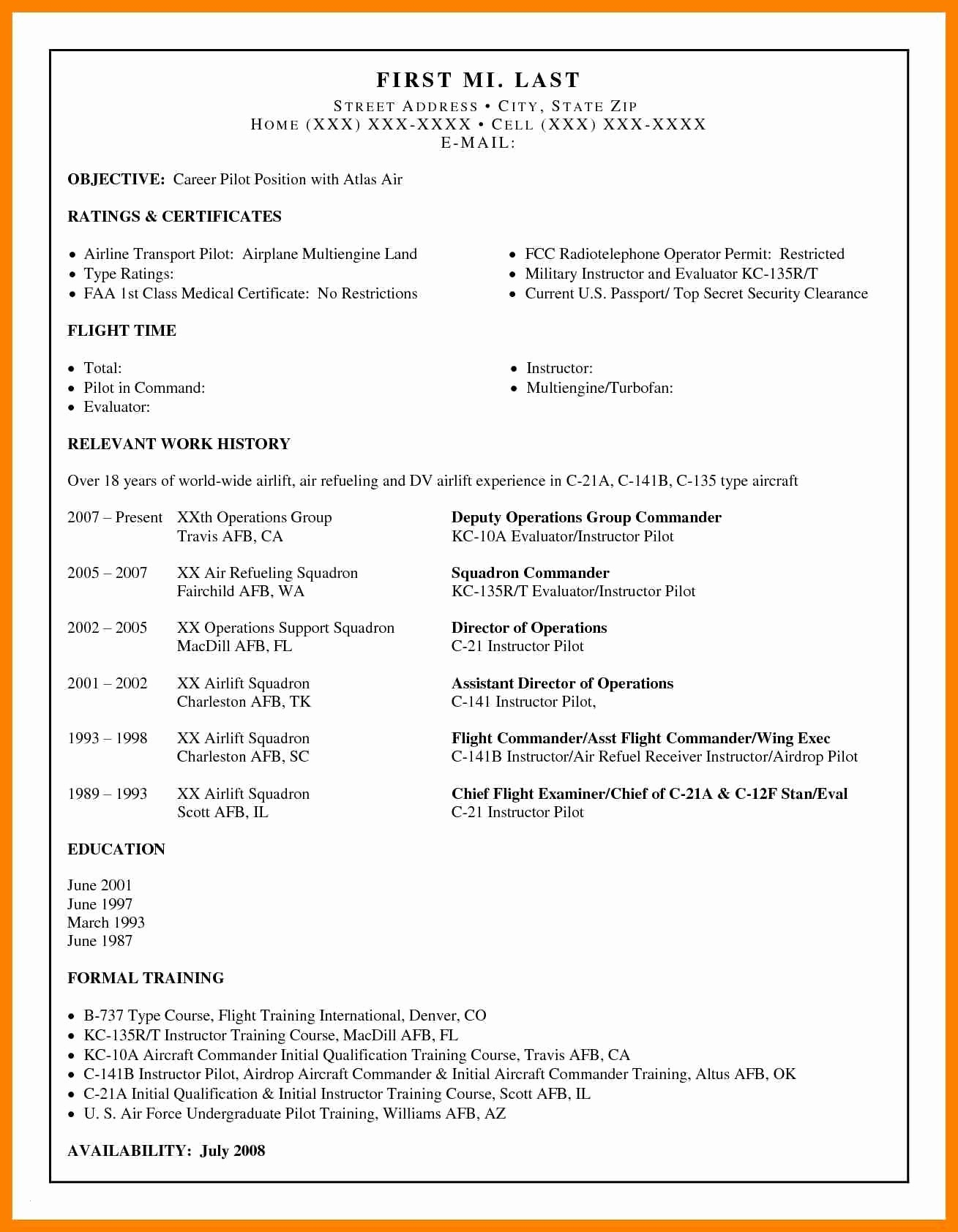 Airline Pilot Resume Template - Airline Pilot Resume Examples Unique Pilot Resume Examples