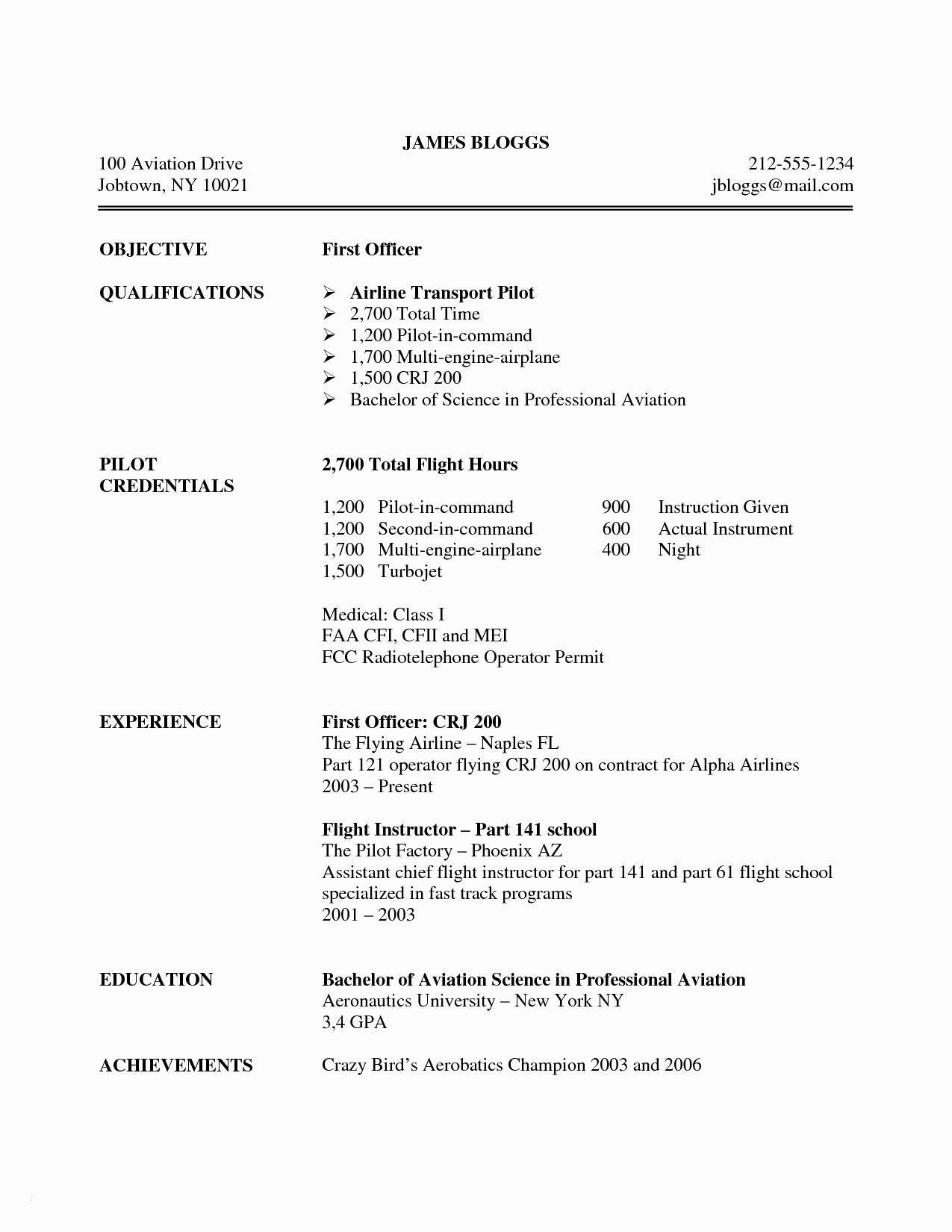 Airline Pilot Resume Template - Airline Pilot Resume Examples Best 27 Beautiful Pilot Cv Template