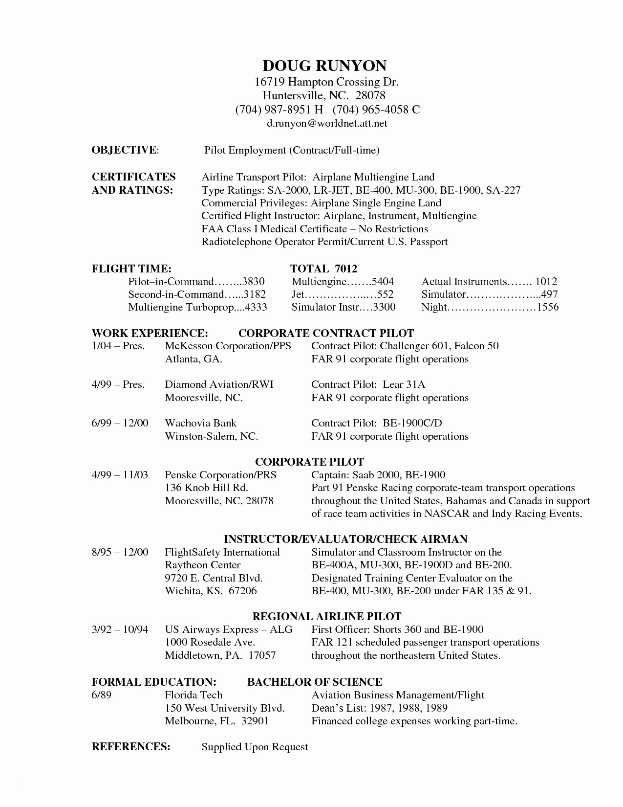 Airline Pilot Resume Template - Flight Instructor Resume Sample New Airline Pilot Resume Aurelianmg