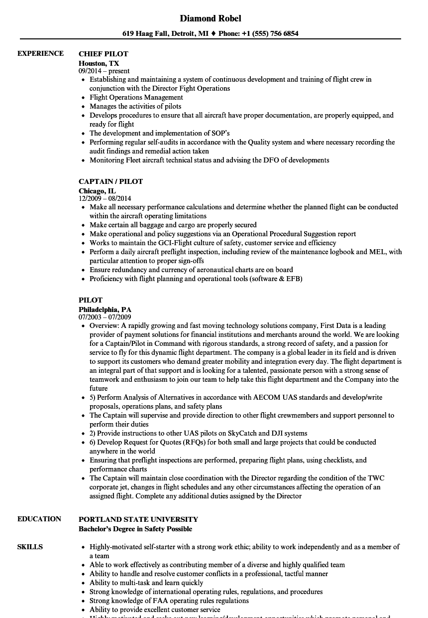 Airline Pilot Resume Template - Pilot Resume Samples