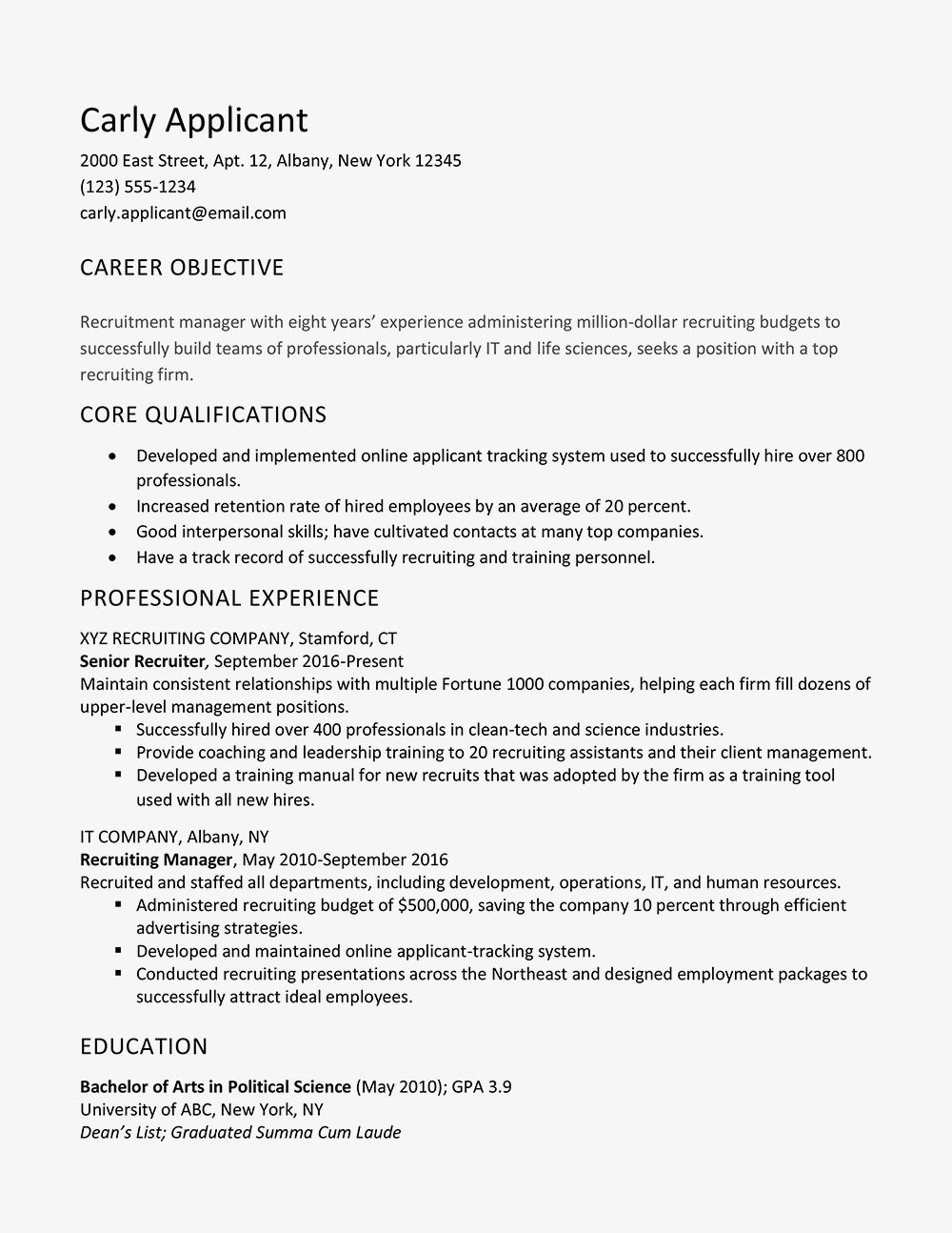 Applicant Tracking System Resume - Sample Cover Letter and Resume for A Recruiter