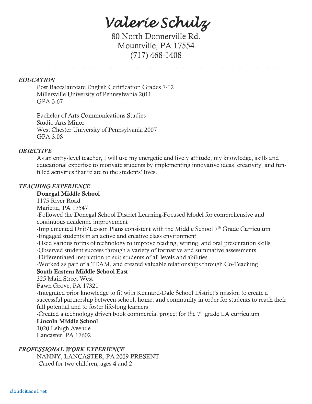 Art Teacher Resume Template - English Cv Template Luxury Inspirational Examples Resumes Ecologist