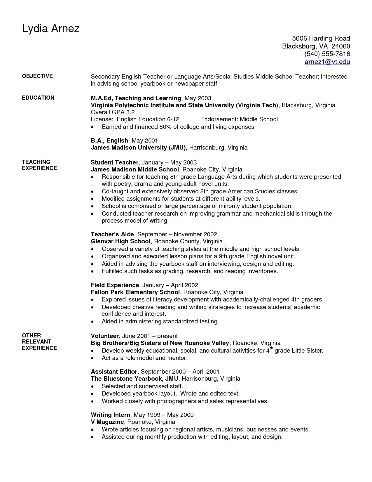 Art Teacher Resume Template - Teaching Resume Examples Fresh Elegant Resume for Highschool