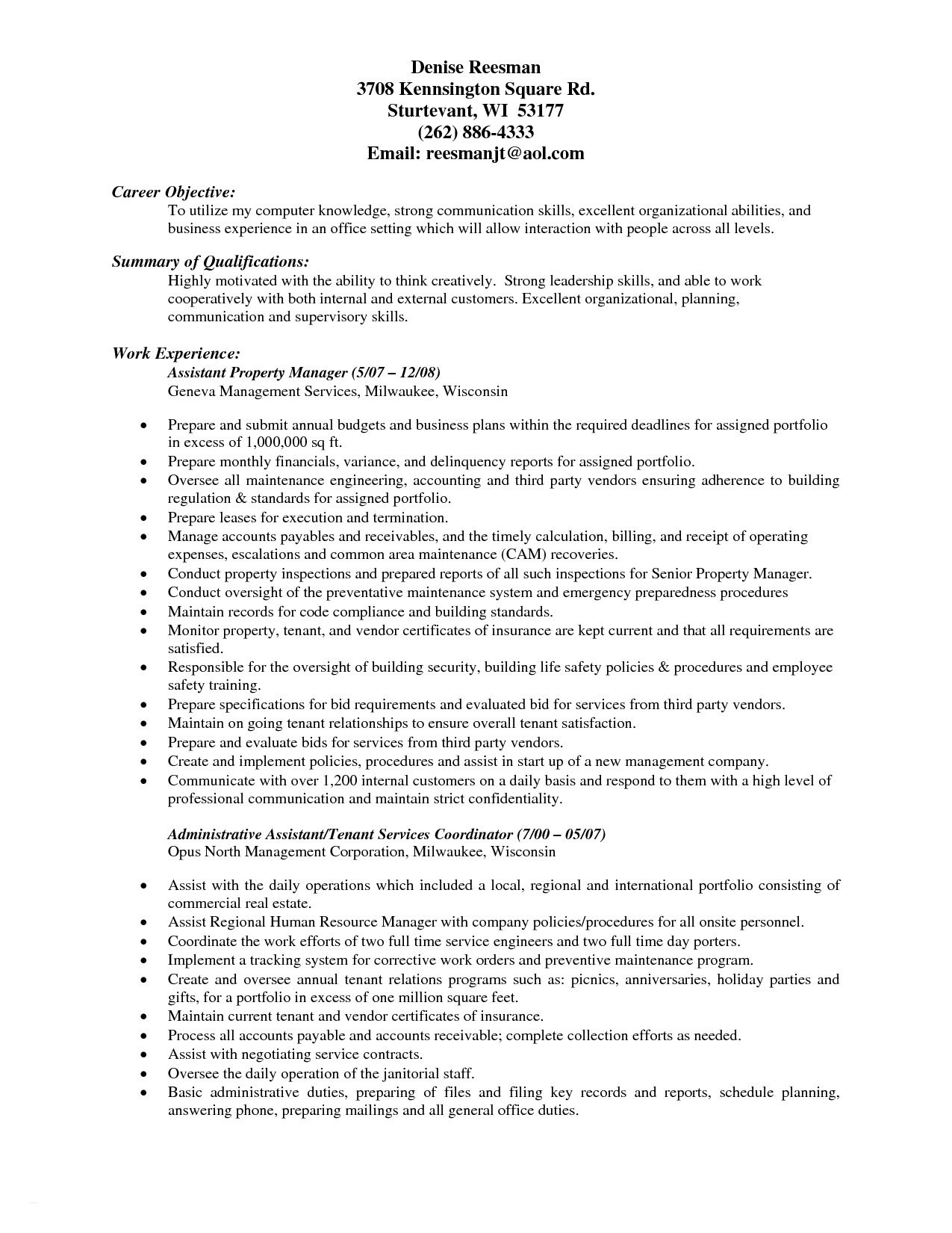 Assistant Property Manager Resume Objective - Property Management Resume Keywords Example Best Resumes for