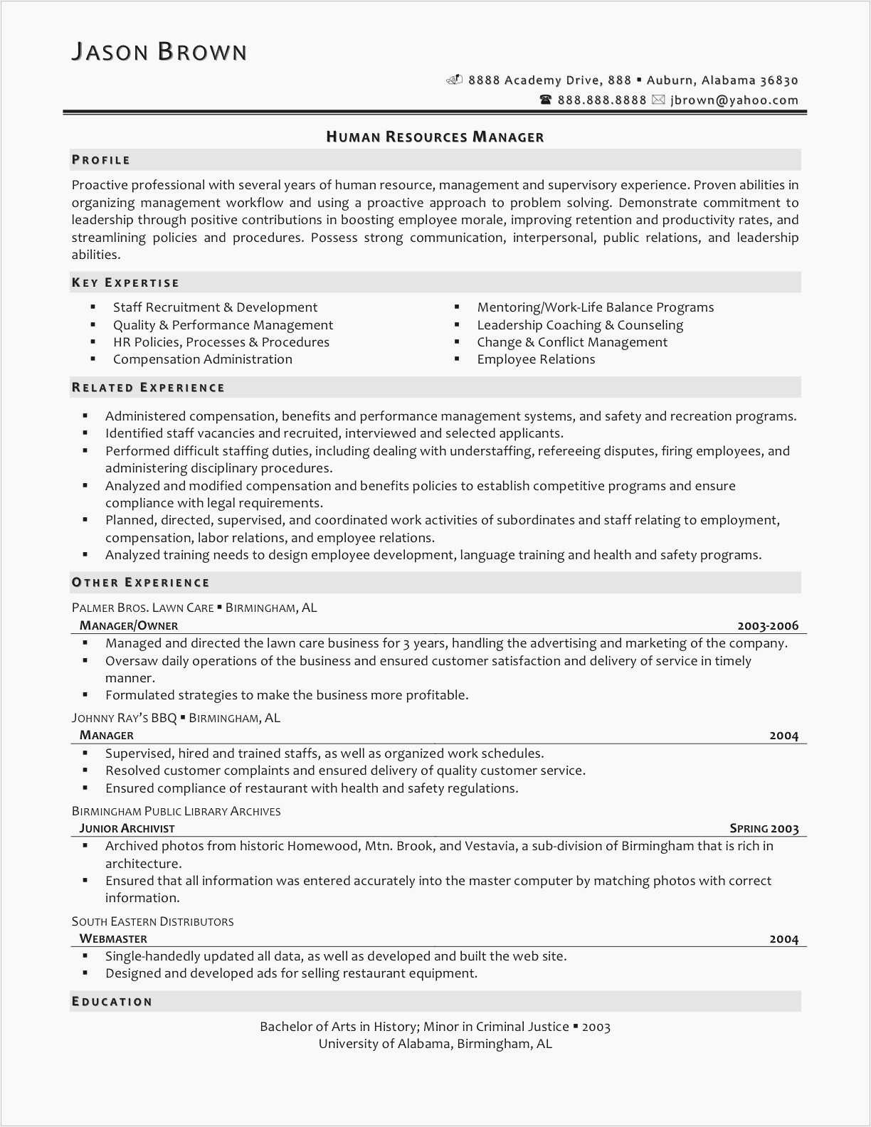 auburn resume template Collection-New Sample Resume for Human Resources Manager Awesome Sample Hr Resume Inspirational Hr Resume Examples Unique 8-n