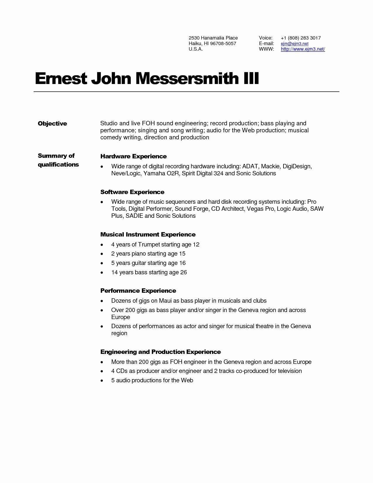 Audio Engineer Resume - Audio Engineer Resume Awesome 14 Best Resumes Pinterest Sample