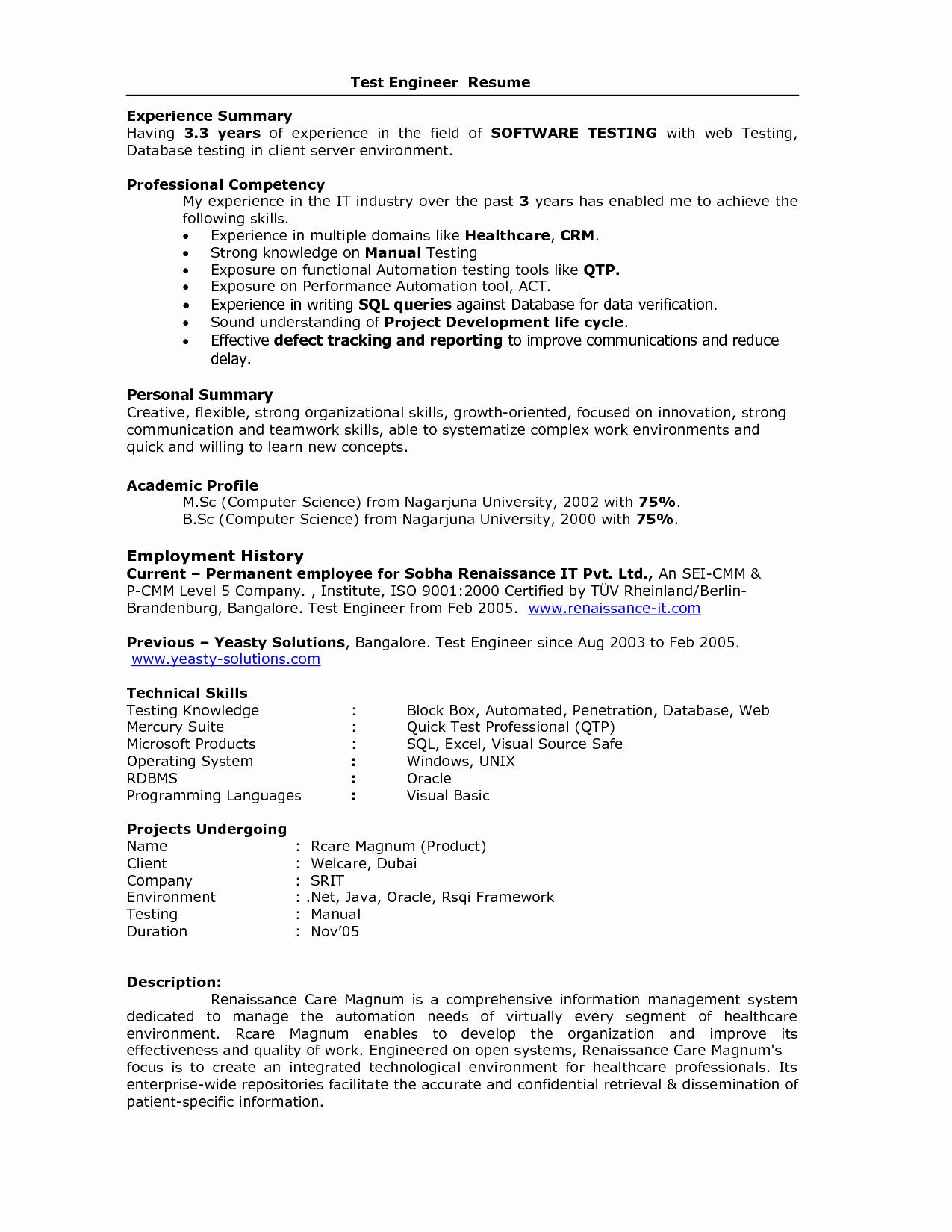 Automation Testing Resume for 5 Years Experience - 43 Awesome Resume format for software Testing Fresher Resume