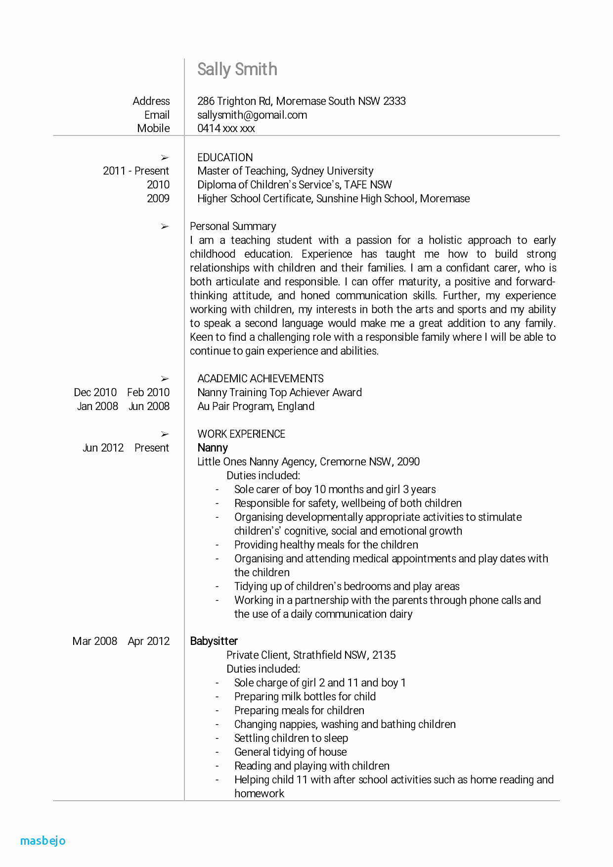 Babysitters Resume Template - Resume for Baby Sitting Babysitting Resume Examples Babysitter