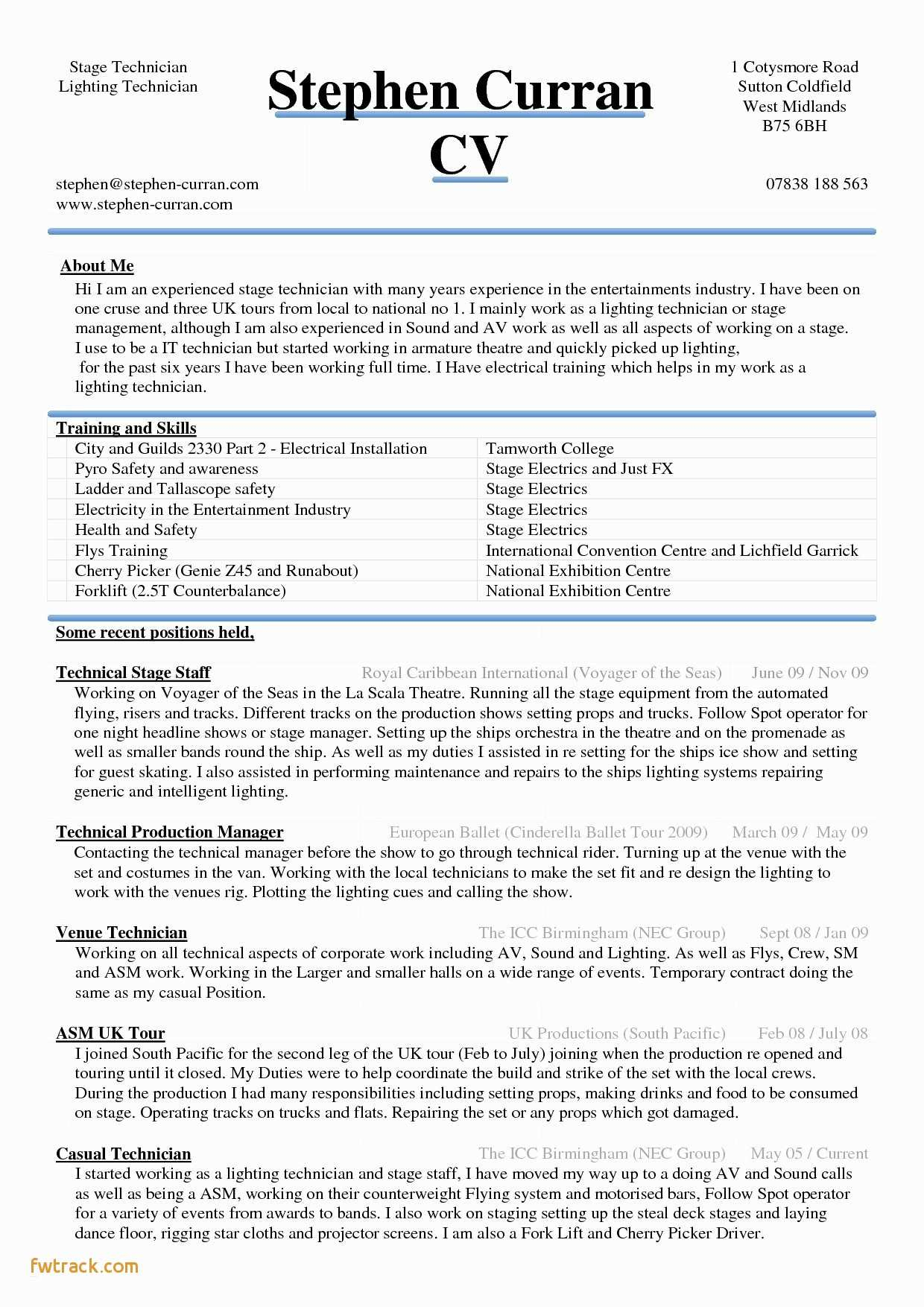 Ballet Resume Template - Resume Templates for Pages Fwtrack Fwtrack