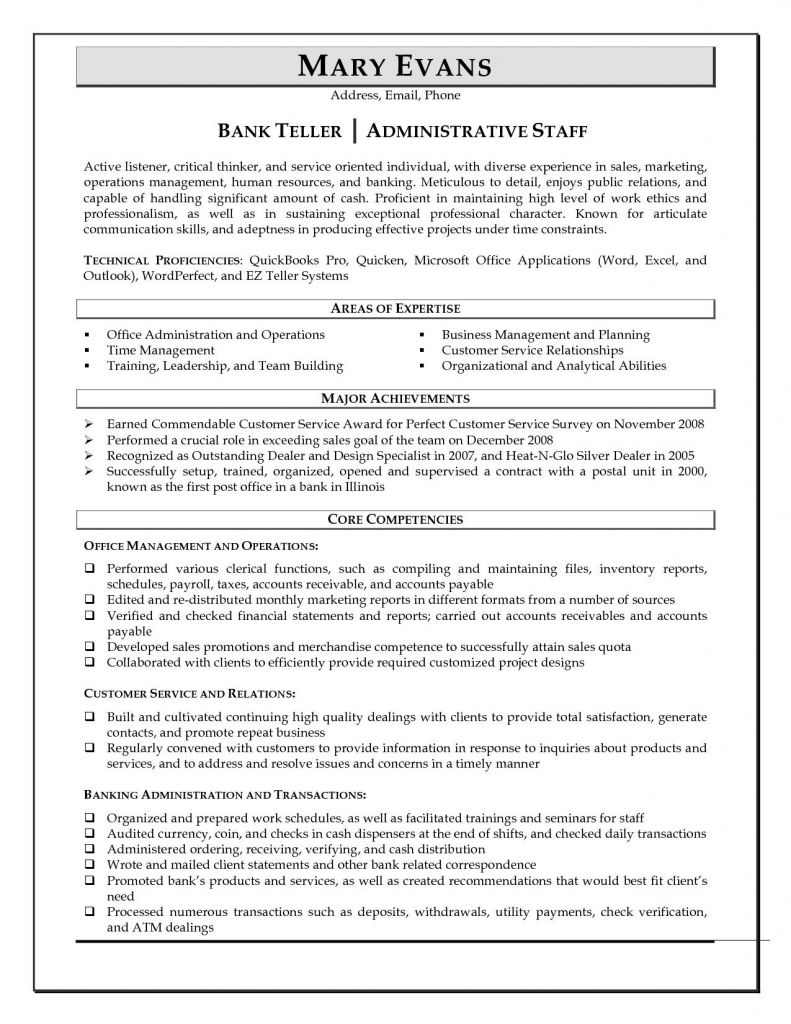 Bank Teller Responsibilities for Resume - Free Downloads Job Description for Bank Teller Resume Vcuregistry