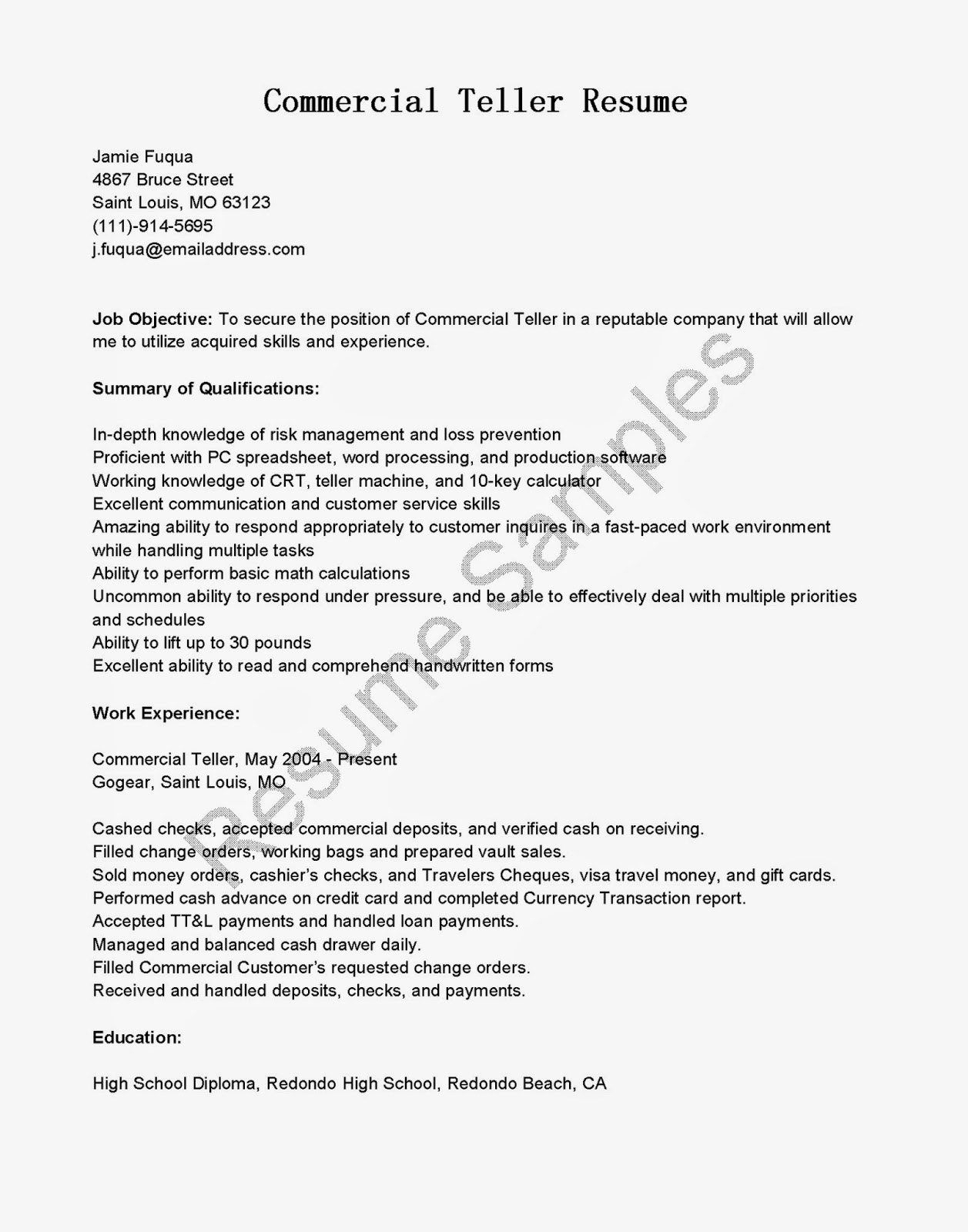 Bank Teller Responsibilities for Resume - Bank Teller Resume Example Cover Letter for Officer Responsibilities