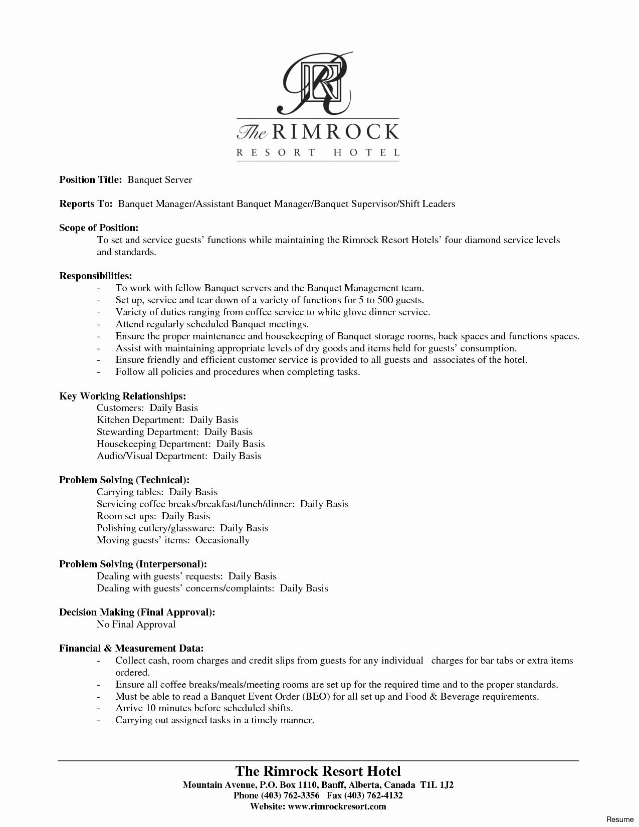 Banquet Server Job Description for Resume - Resume Samples for Food Service Inspirational Catering Resume