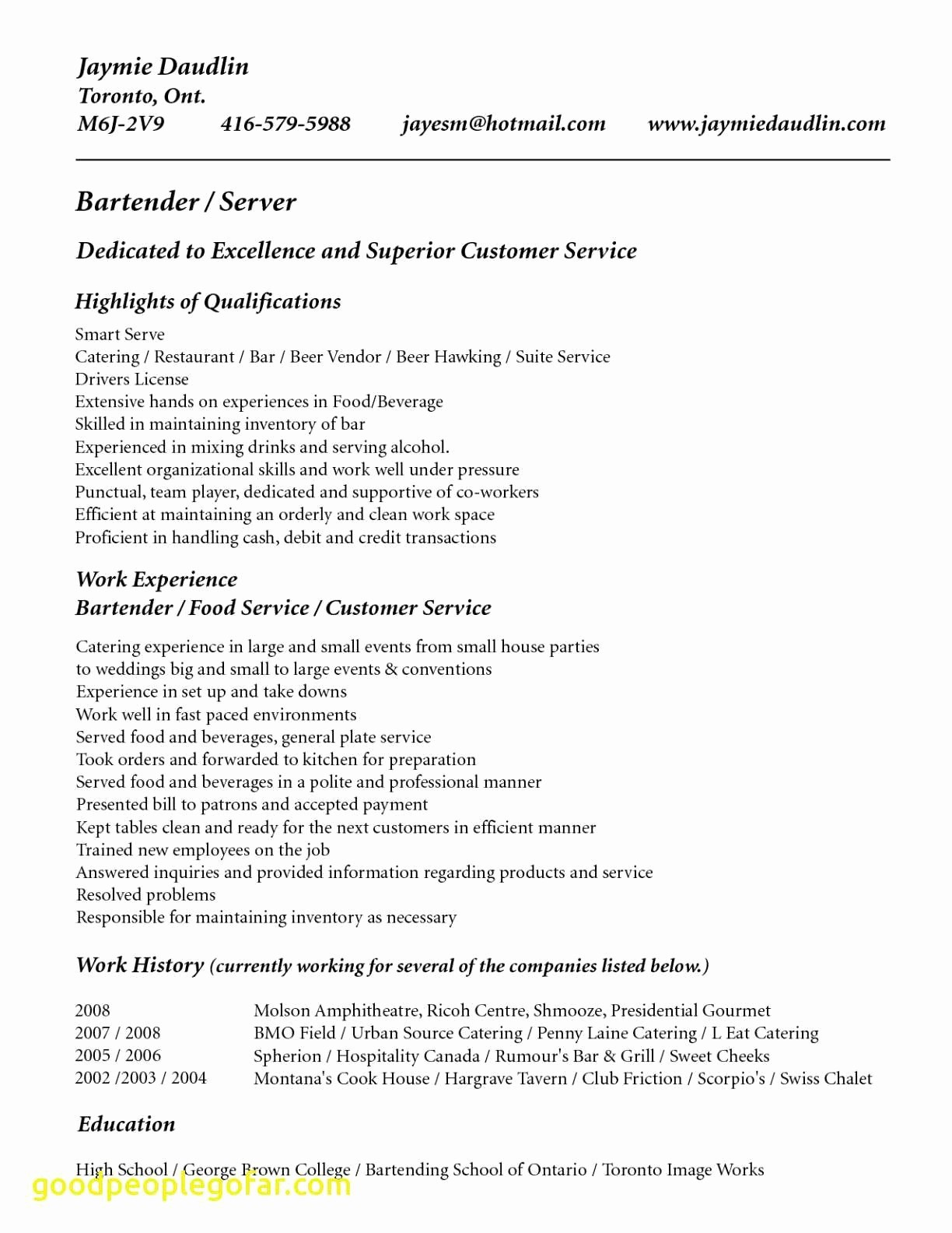 Bartending Responsibilities for A Resume - 15 Awesome Bartender Resume Sample