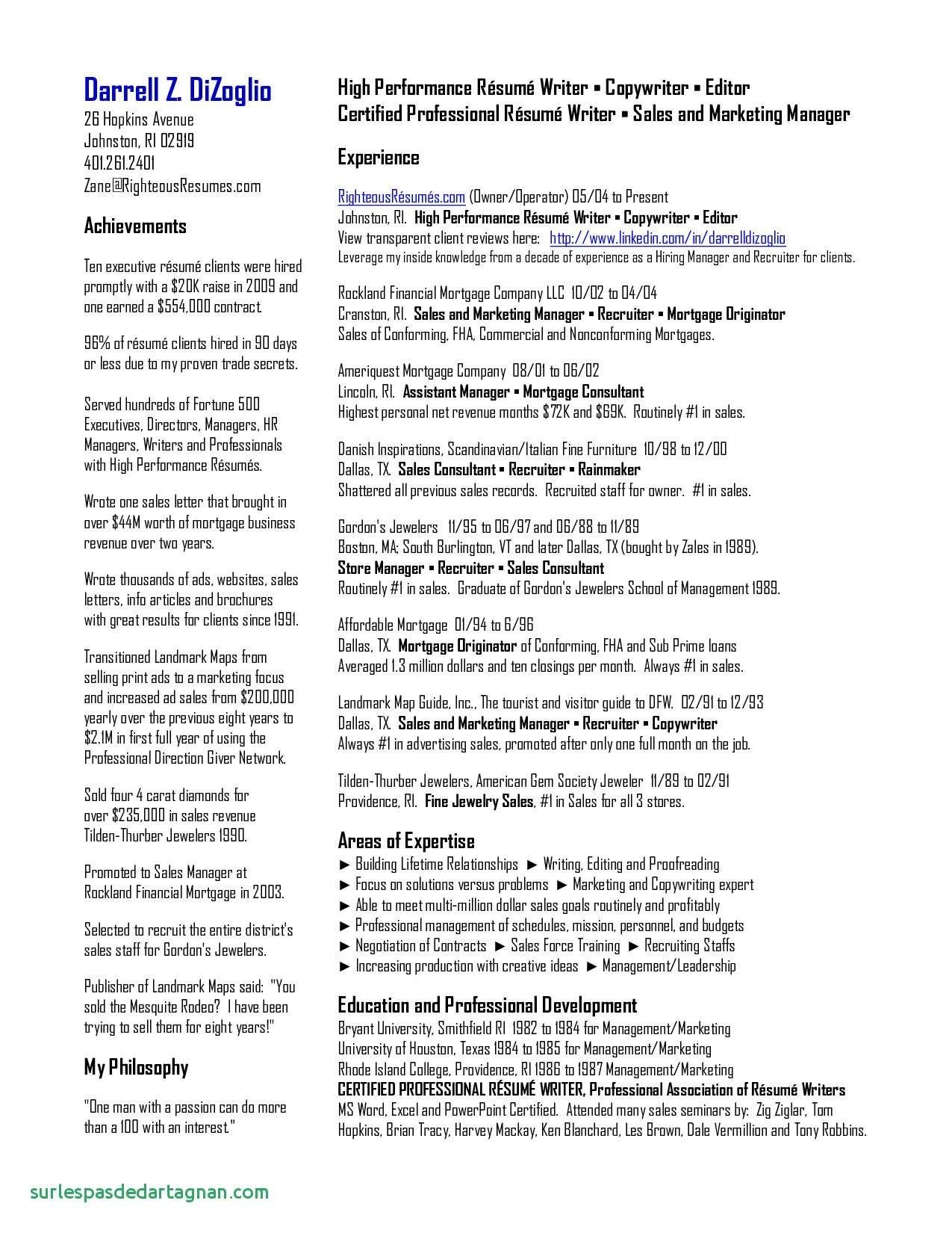 Bartending Resume Template - Sales Resume Samples Beautiful Sales Resumes Examples Lovely New