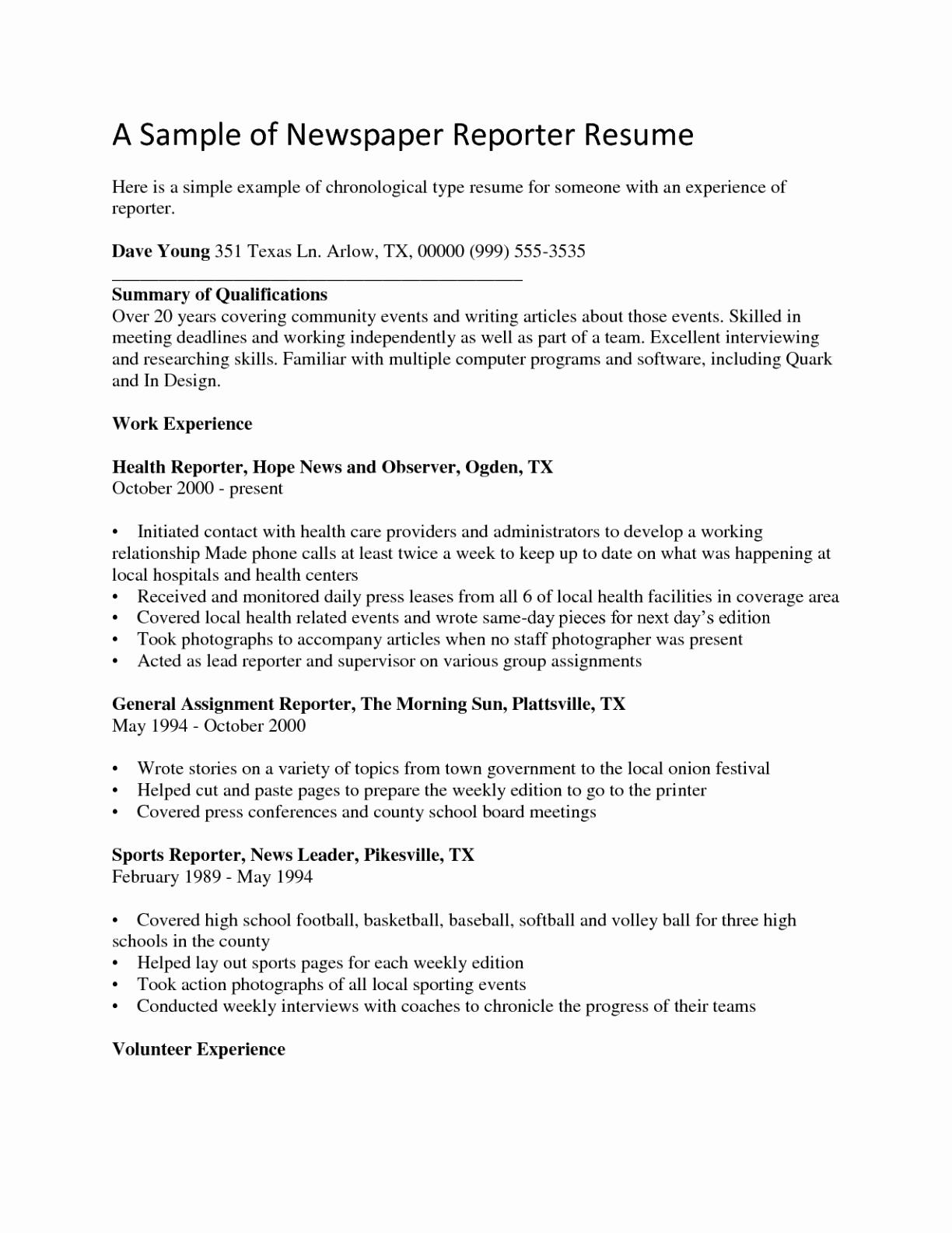 Baseball Resume Template - format Resume for Experienced Person Elegant Journalist Resume