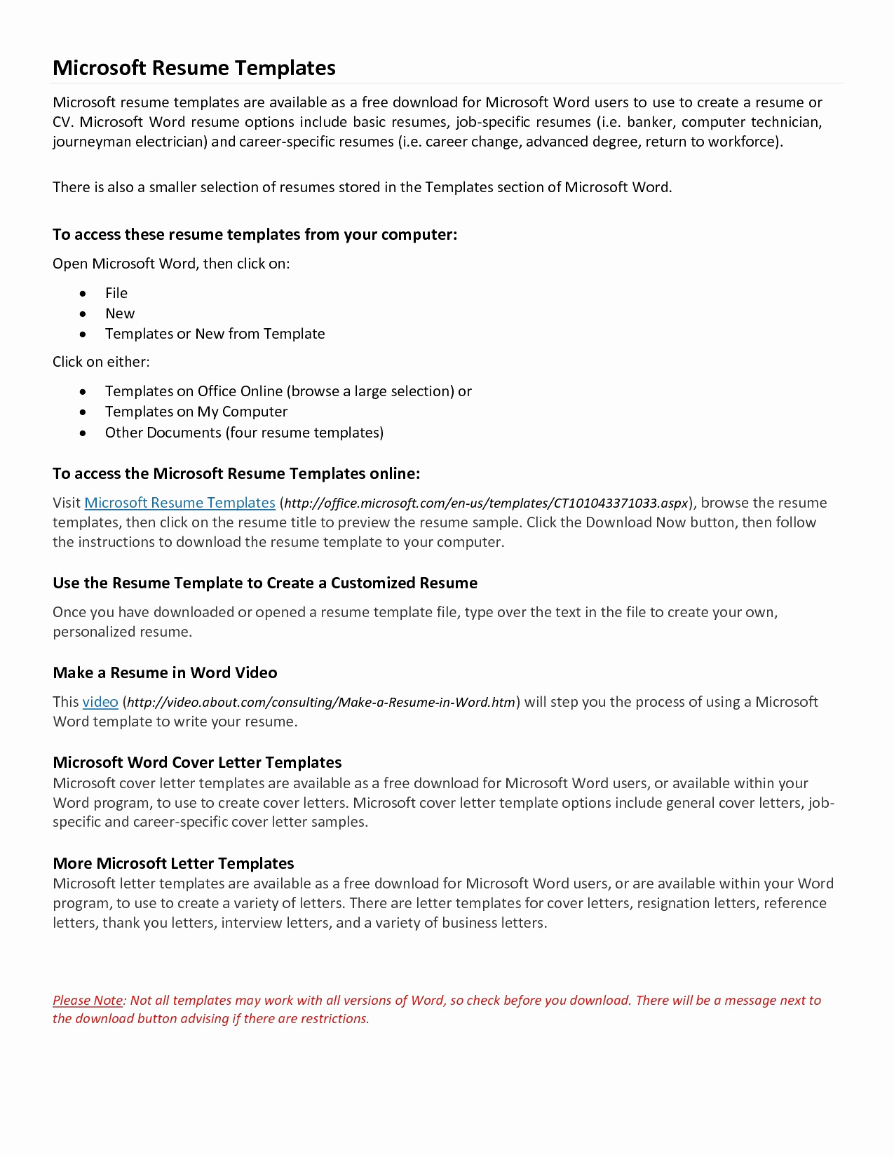 Basic Resume Template Word - General Cover Letter Template Free Gallery