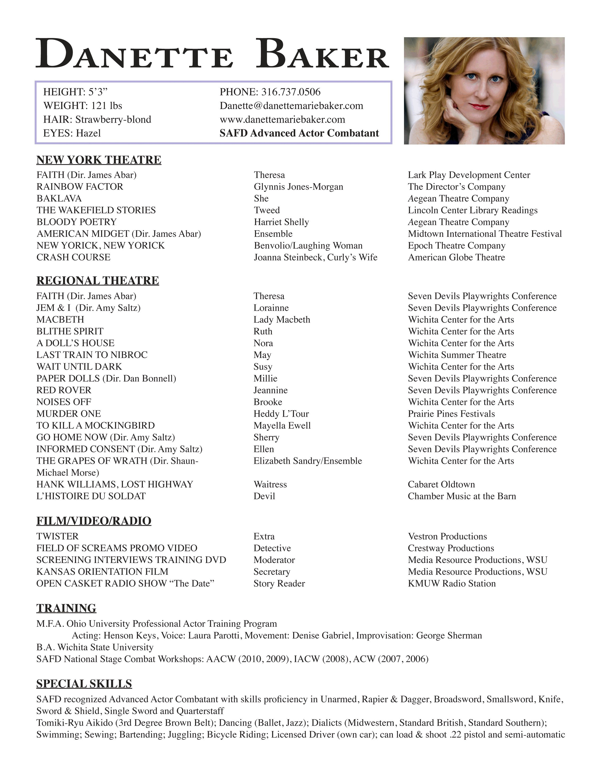 Beginner Acting Resume Template - 20 Musical theatre Resume Template
