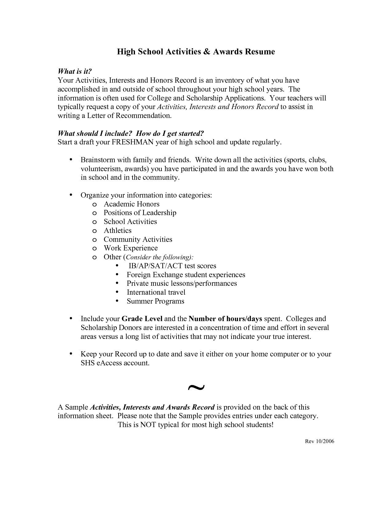 Best High School Resume - Awesome High School Resume Template for College Application