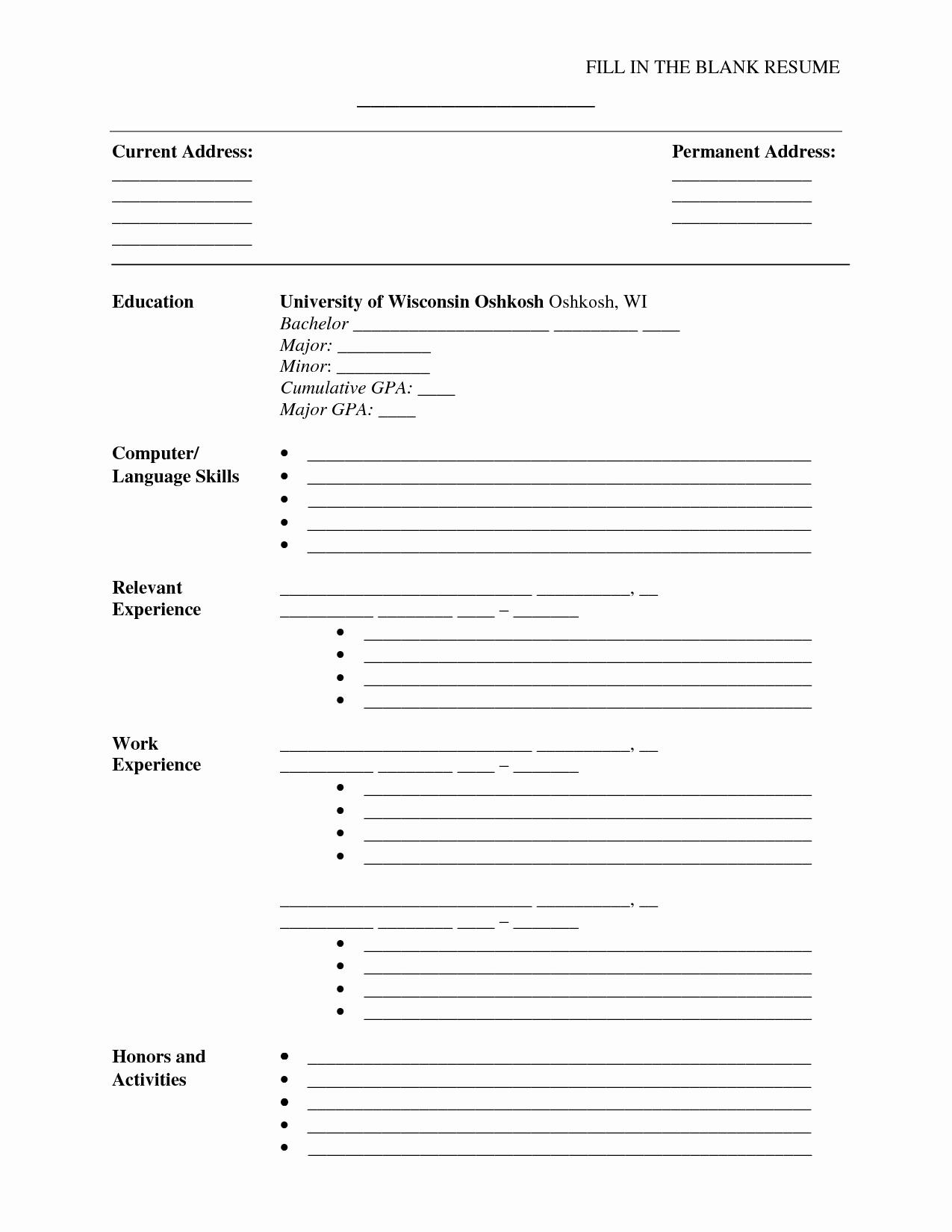 Blank Resume Pdf - 46 New Blank Resume Template Pdf Resume Templates Ideas 2018
