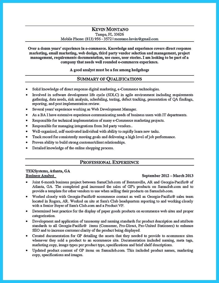 Business Analyst Resume Examples - Cool Create Your astonishing Business Analyst Resume and Gain the
