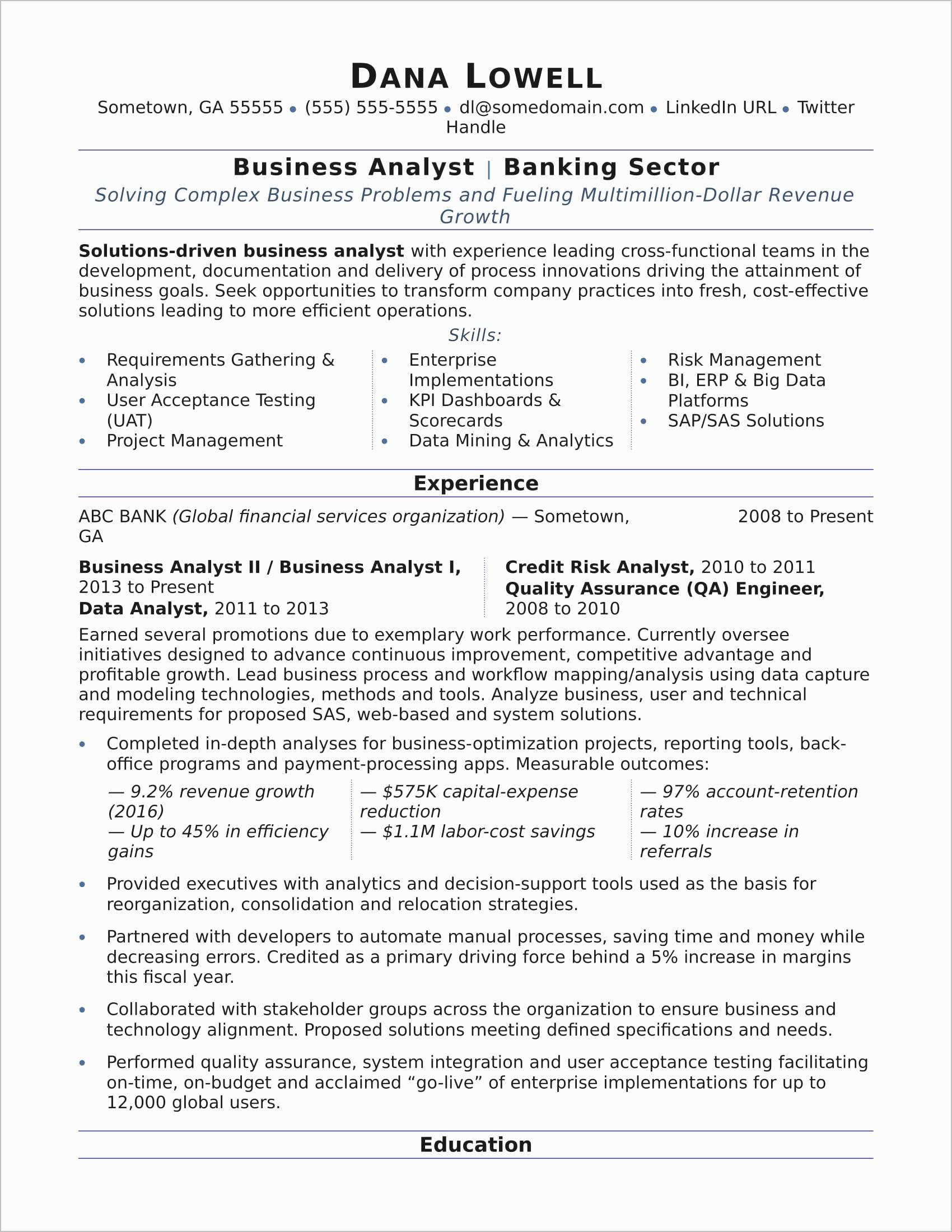 Business Analyst Resume Pdf - Business Analyst Resume Samples New Business Analyst Resume