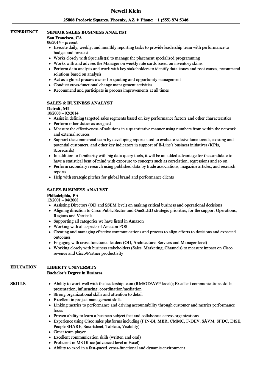 Business Analyst Resume Sample Pdf - Sales Business Analyst Resume Samples
