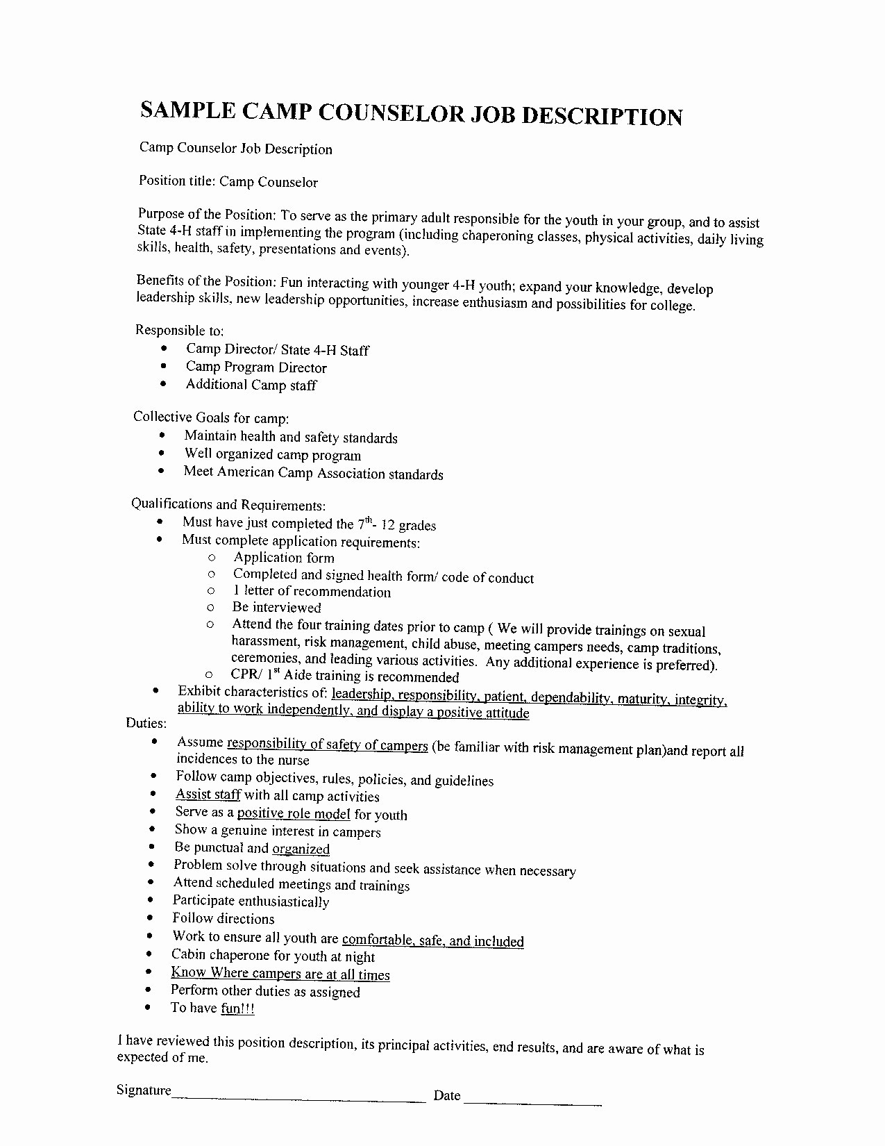 Camp Counselor Job Description for Resume - 23 Camp Counselor Resume