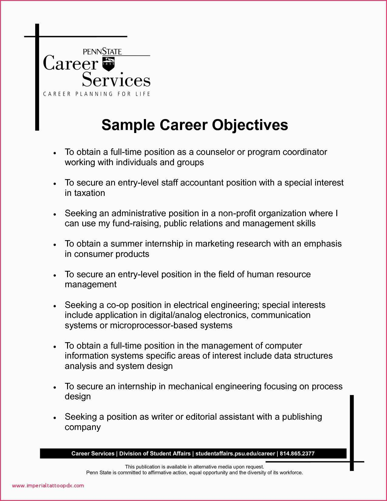 Career Center Resume - 52 Sample Career Objective In Resume for Freshers