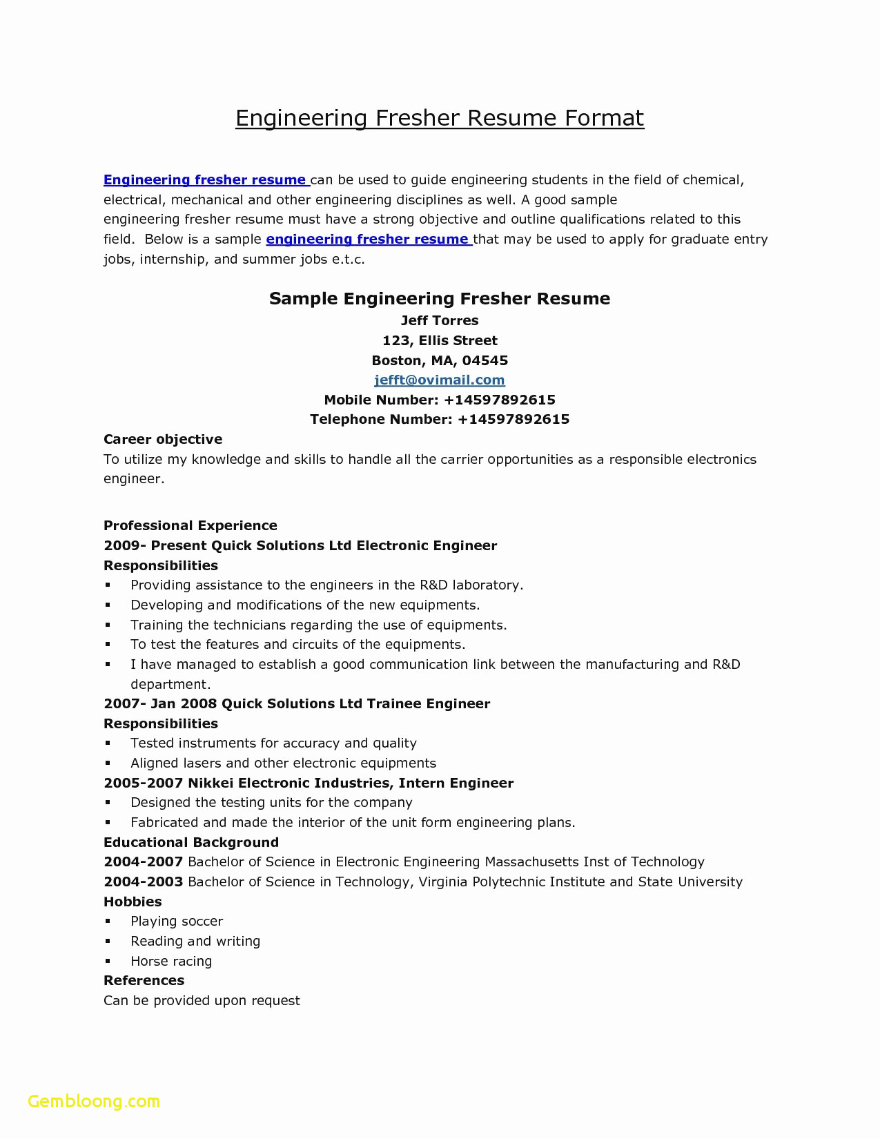 Career Objective for Resume for Fresher - Diploma Resume format Yelomphone Pany