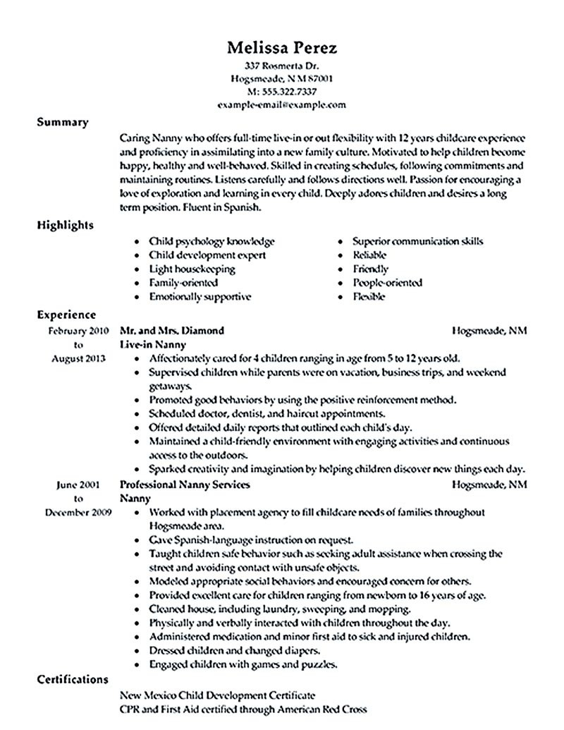 Caregiver Job Description for Resume - Nanny Job Description Resume Unique Caregiver Job Description Resume