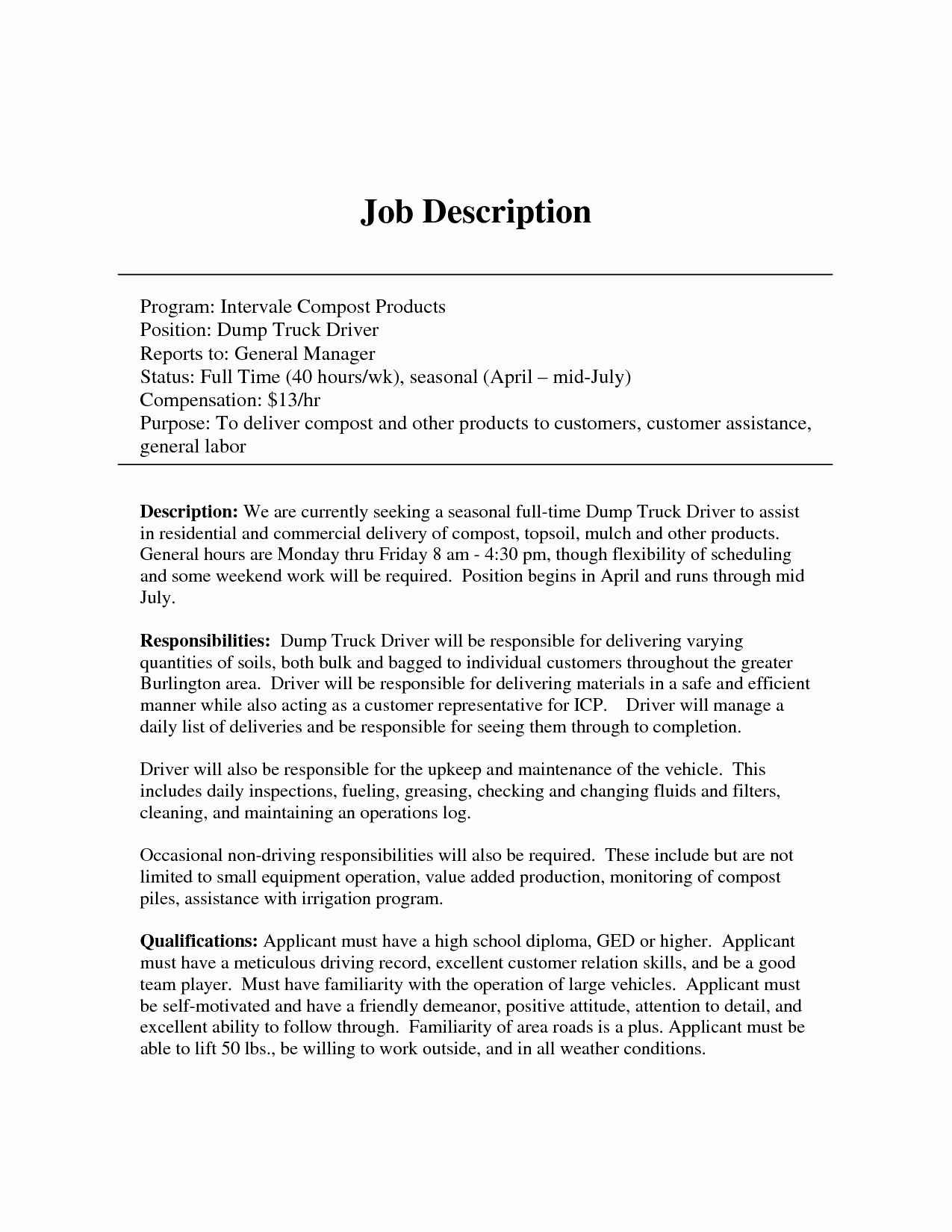 Cdl Truck Driver Job Description for Resume - Job Description for Delivery Driver Best Personal Driver Job