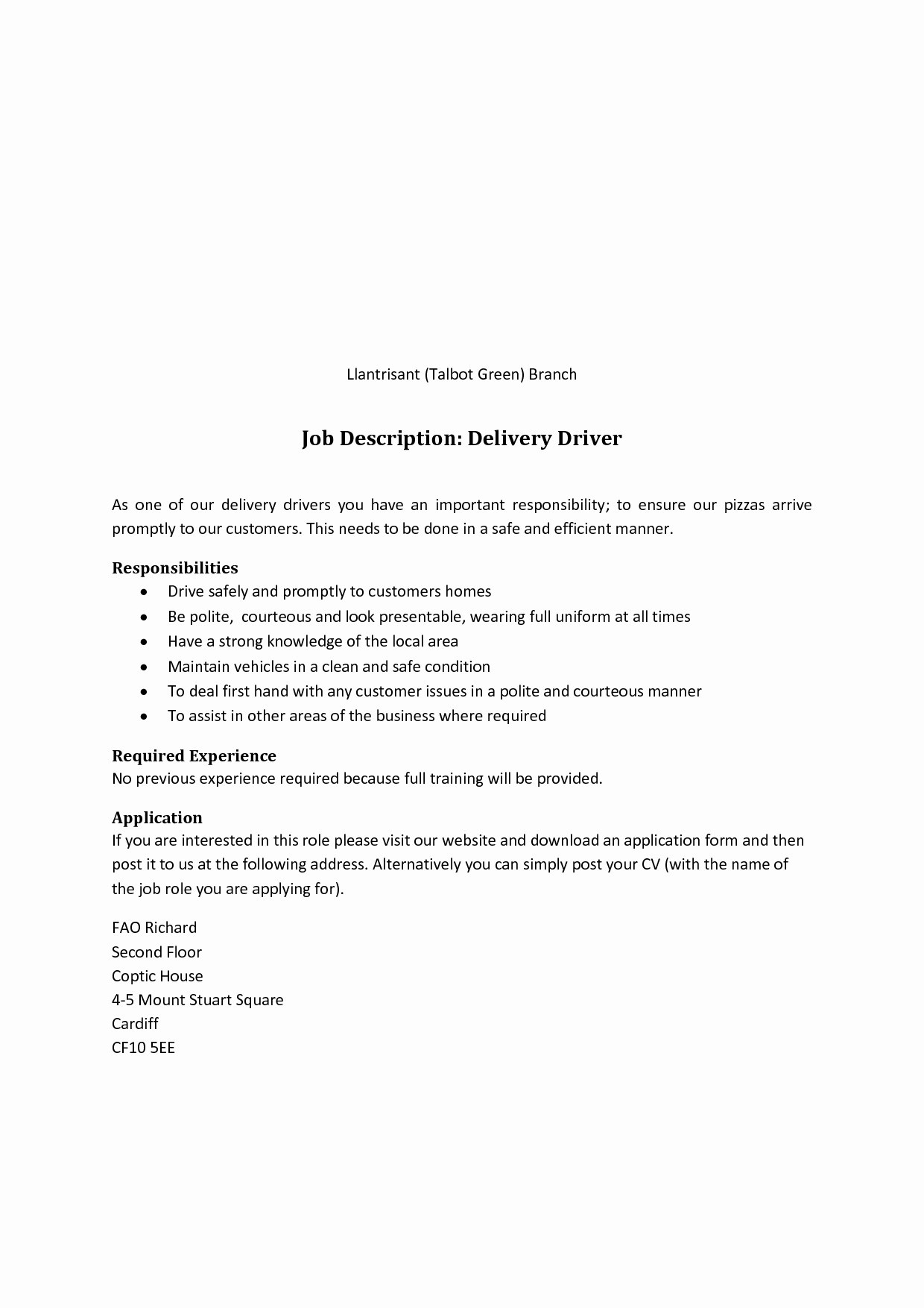 12 cdl truck driver job description for resume collection