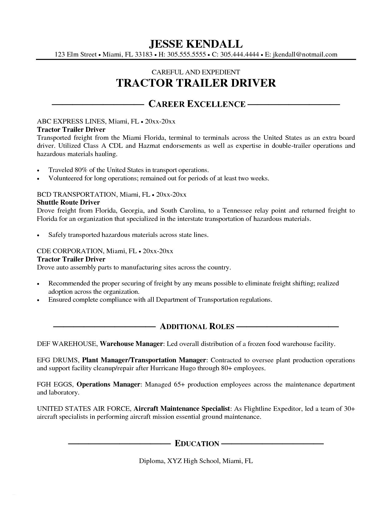 Cdl Truck Driver Job Description for Resume - Cdl Truck Driver Resume New Simple Resume for Cdl Truck Driver