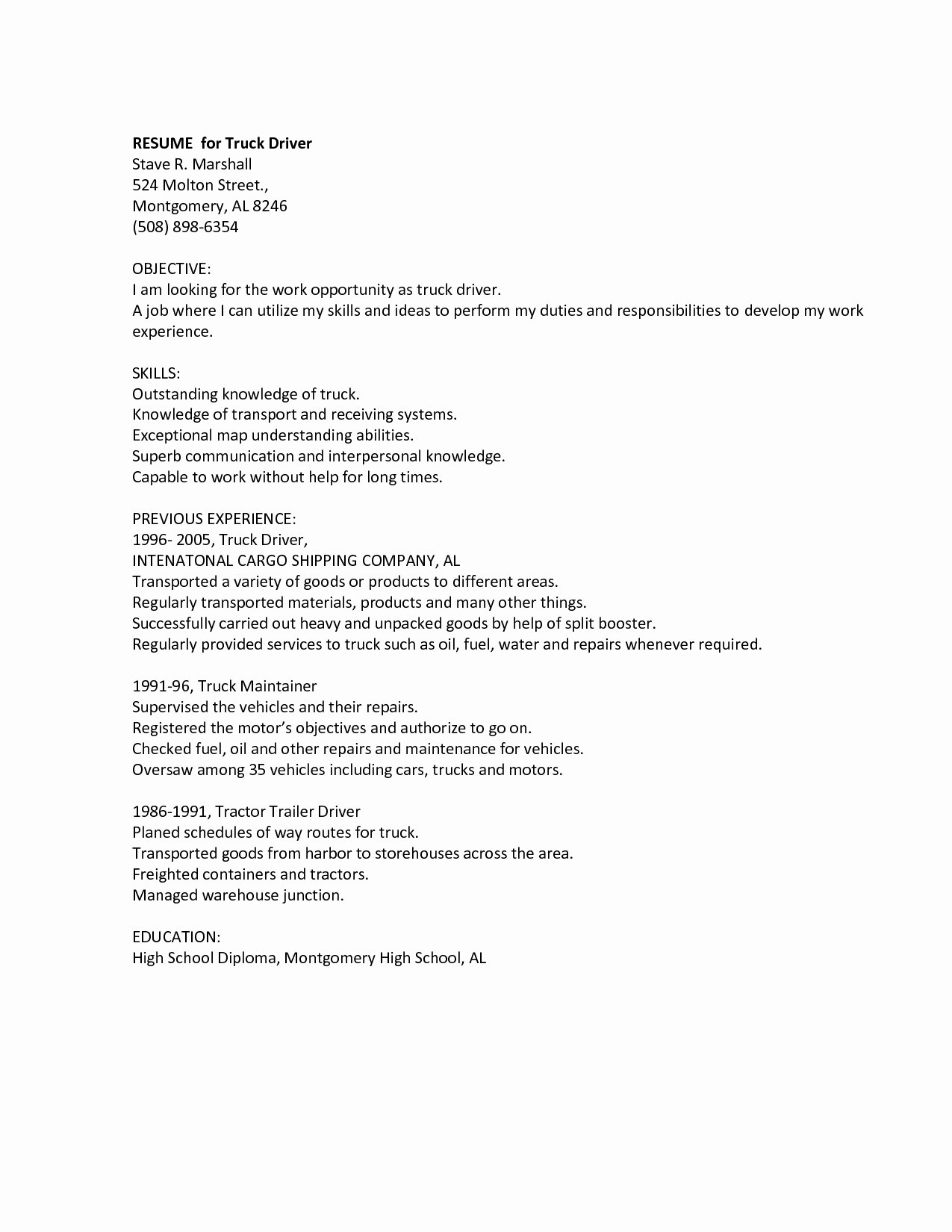 Cdl Truck Driver Job Description for Resume - 20 School Bus Driver Job Description for Resume