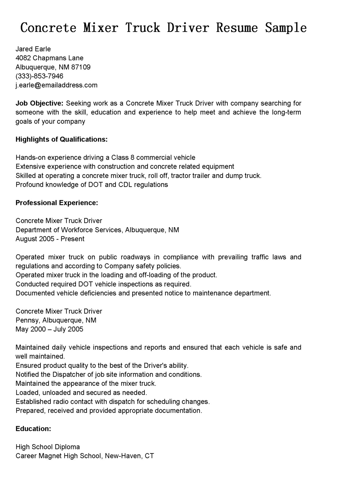 14 cdl truck driver resume samples
