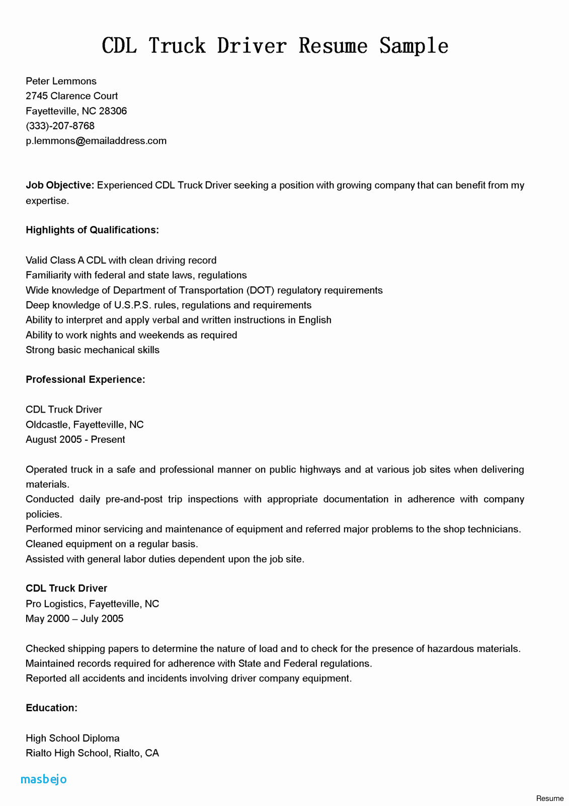 Cdl Truck Driver Resume - Resume Truck Driver Example Truck Driver Resume Gallery Carpenter