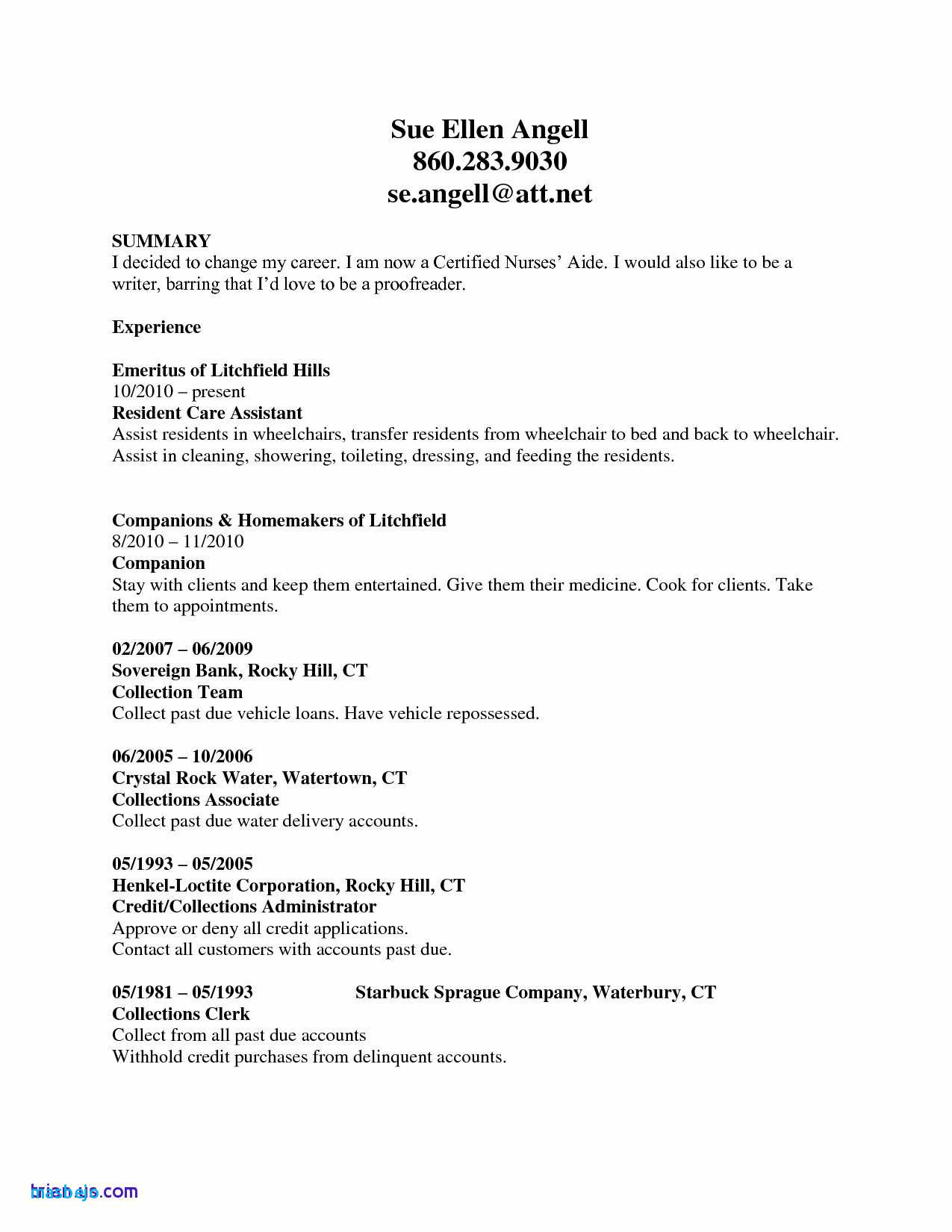8 Certified Nursing Assistant Resume Examples Resume