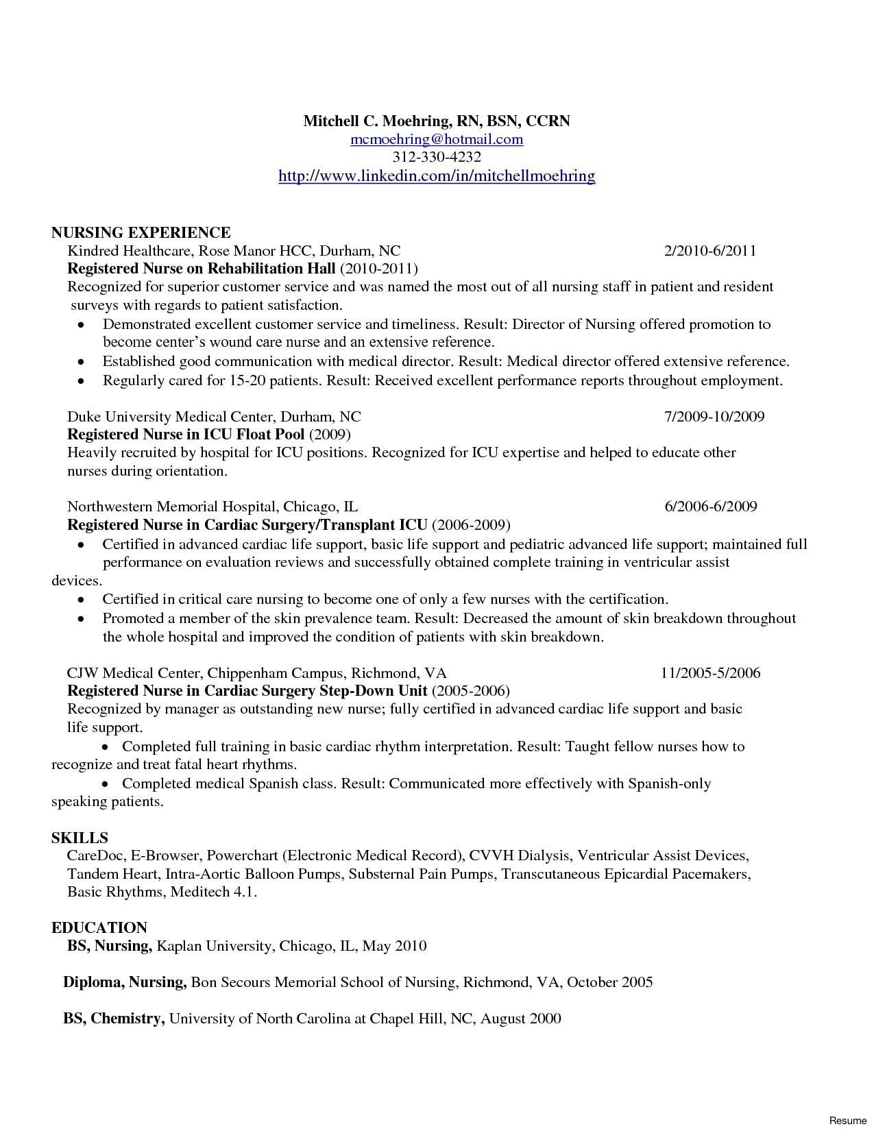 Charge Nurse Resume - Registered Nurse Job Description Resume Book Sample Nursing