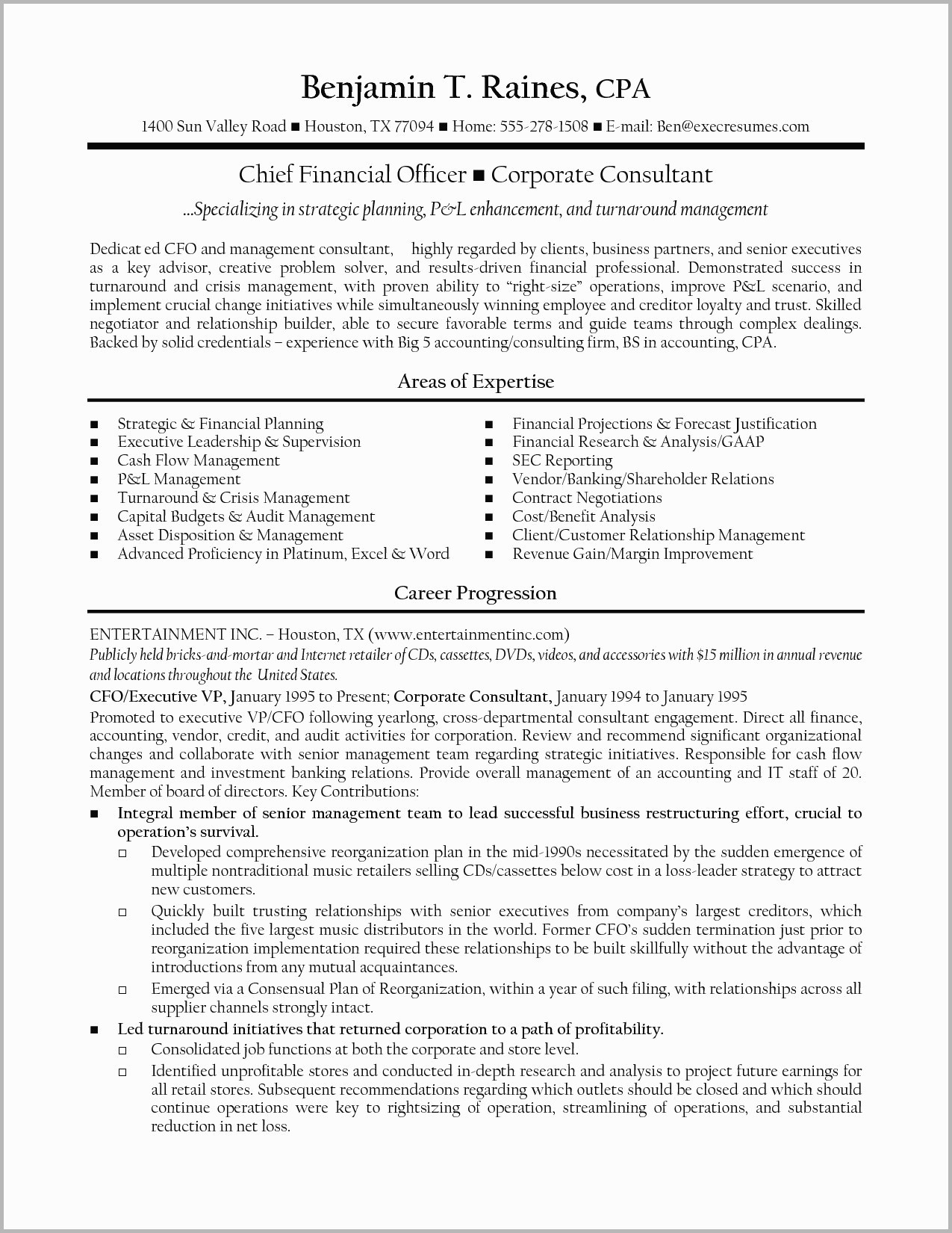 Chief Financial Officer Resume Template - Finance Manager Resume Save Finance Director Resume Examples Cfo
