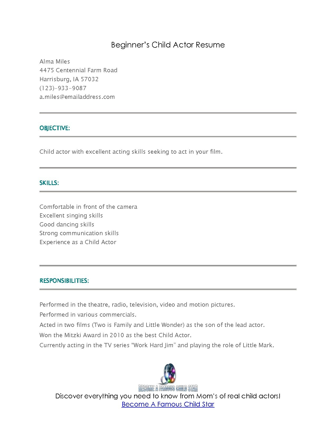 Child Acting Resume Template No Experience - 23 Beginners Resume Template