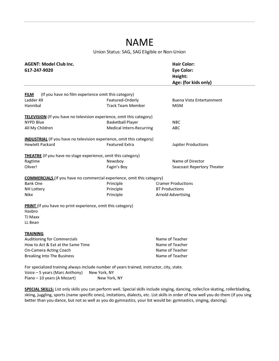Child Acting Resume Template No Experience - Examples Resume New Actor Resume Luxury Acting Resume Example