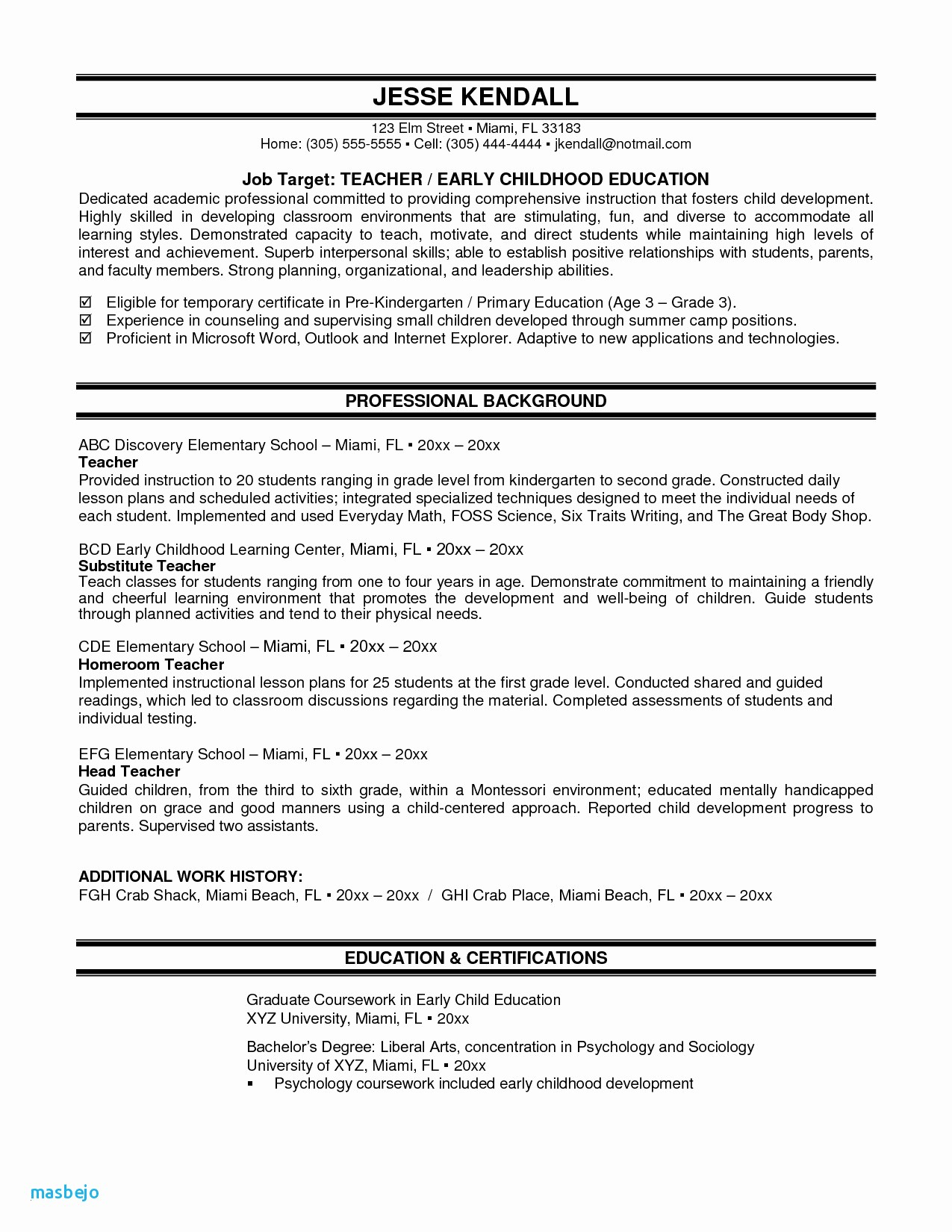 Child Care Provider Resume Sample - 25 New Child Care Resume Examples